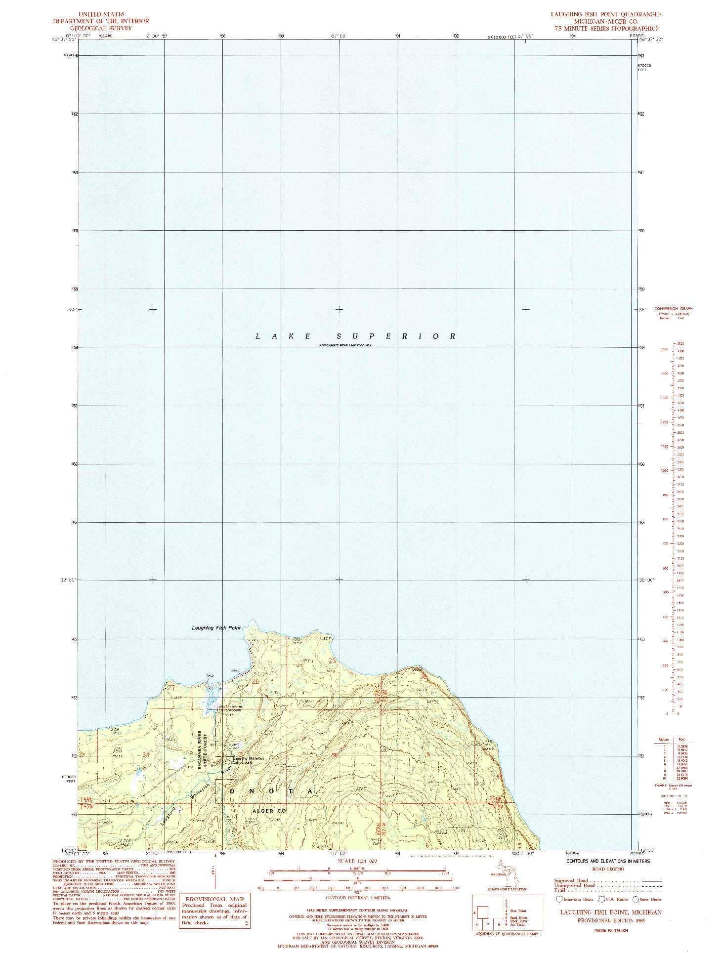 USGS 1:24000-SCALE QUADRANGLE FOR LAUGHING FISH POINT, MI 1985