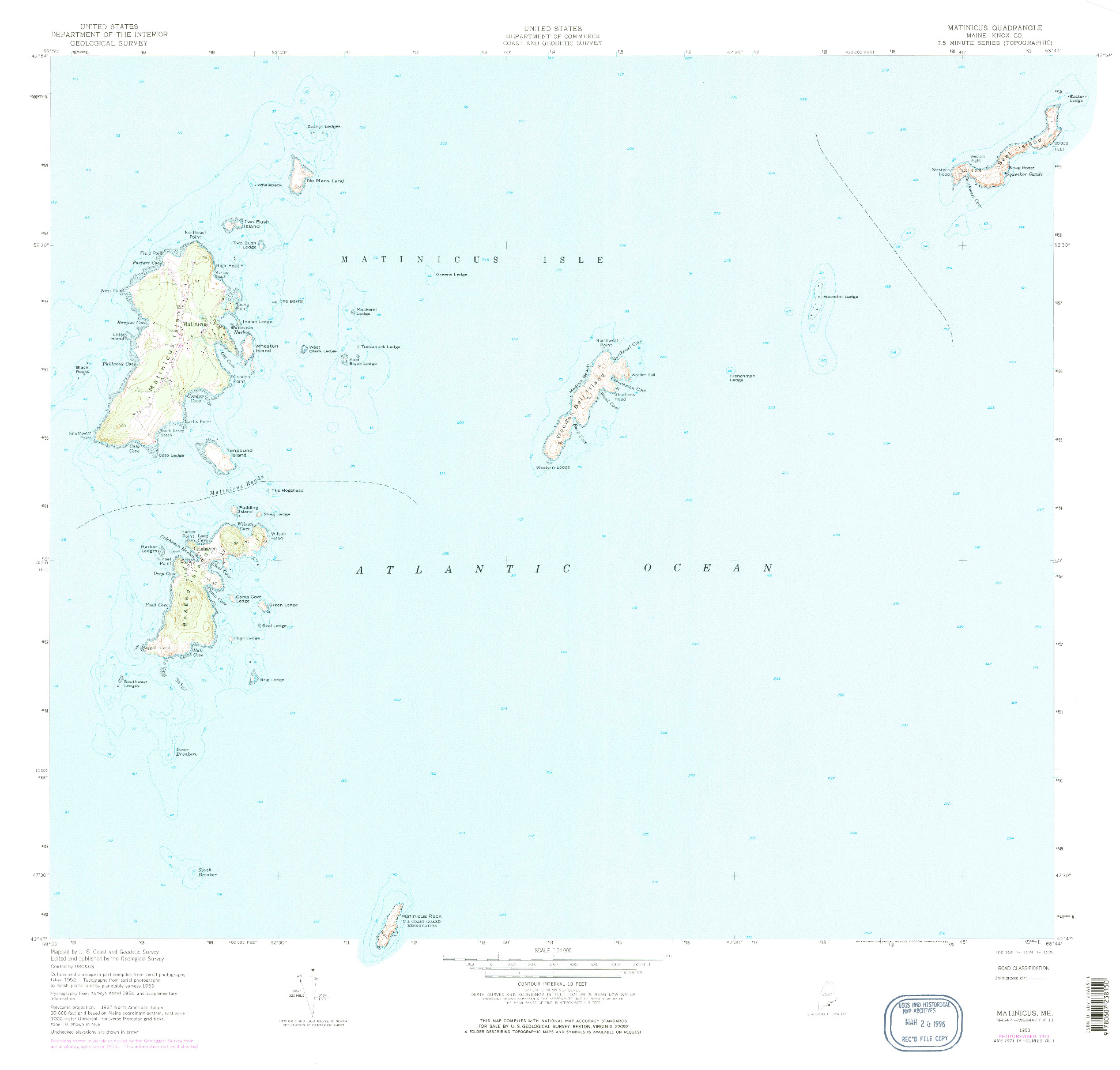 USGS 1:24000-SCALE QUADRANGLE FOR MATINICUS, ME 1953