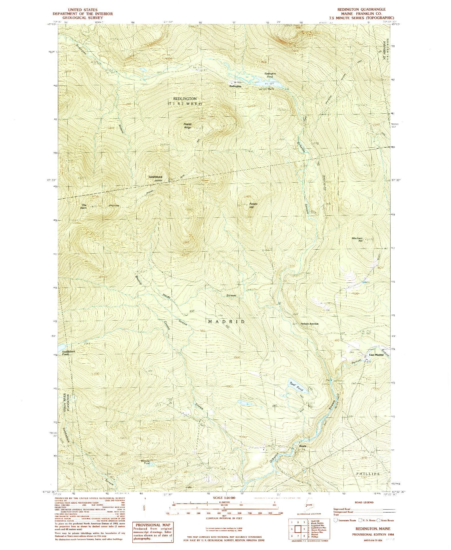 USGS 1:24000-SCALE QUADRANGLE FOR REDINGTON, ME 1984