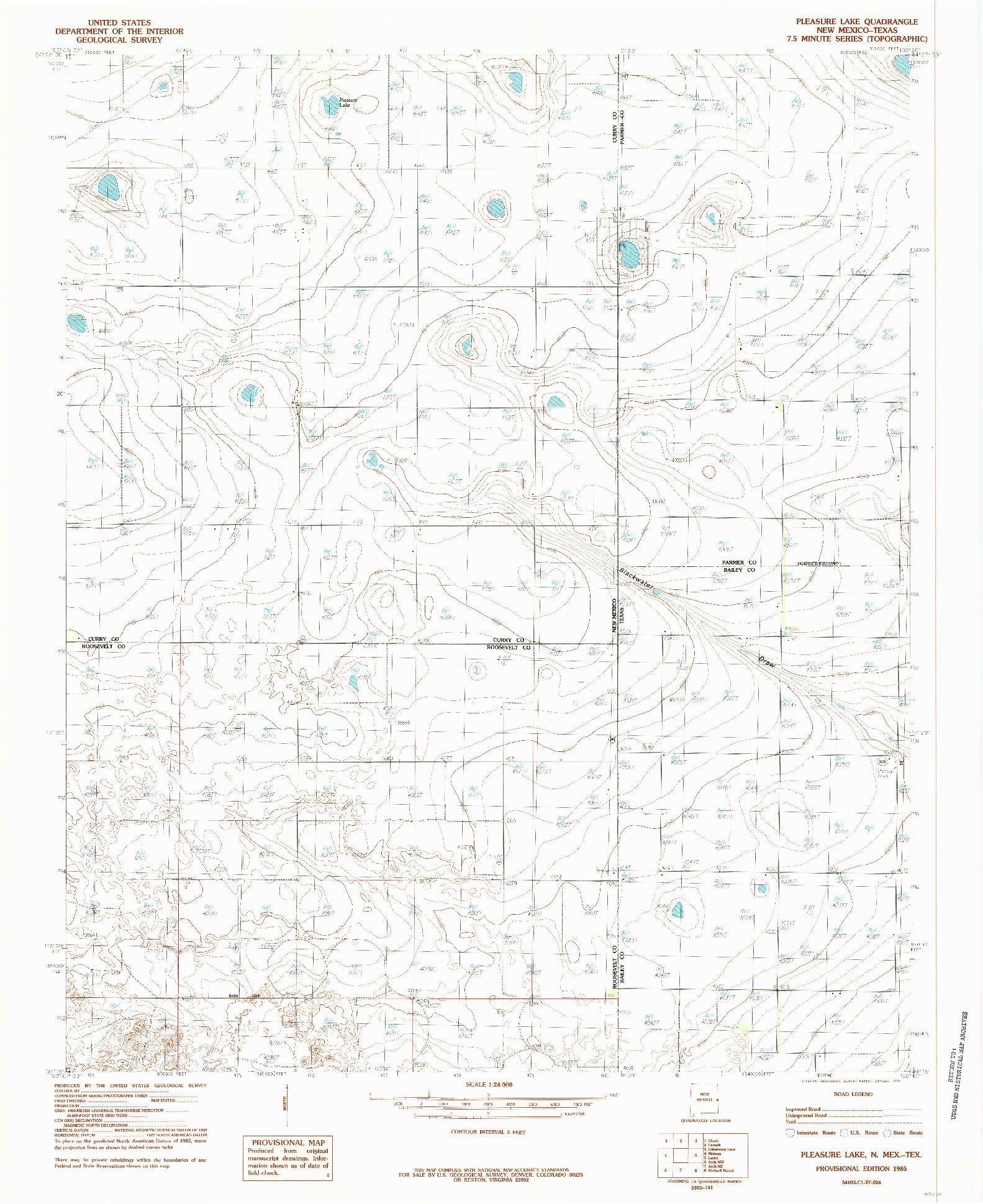 USGS 1:24000-SCALE QUADRANGLE FOR PLEASURE LAKE, NM 1985