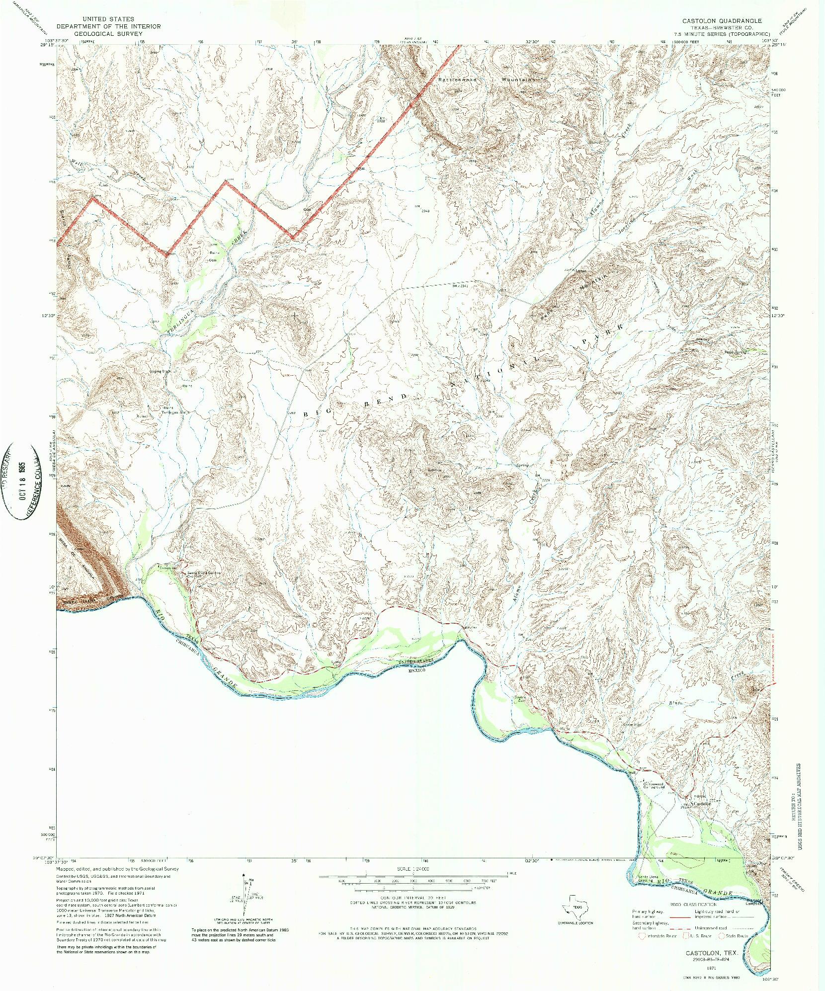 USGS 1:24000-SCALE QUADRANGLE FOR CASTOLON, TX 1971