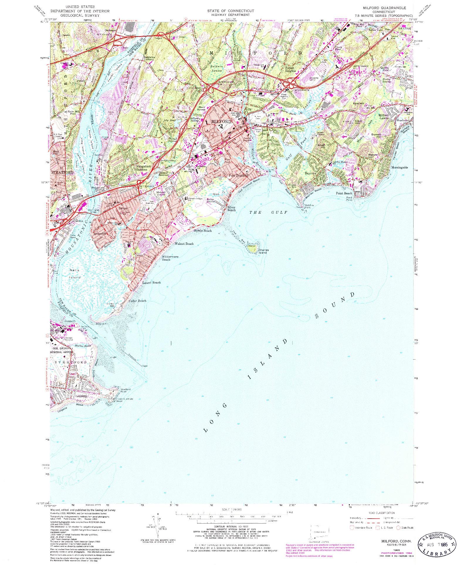 USGS 1:24000-SCALE QUADRANGLE FOR MILFORD, CT 1960