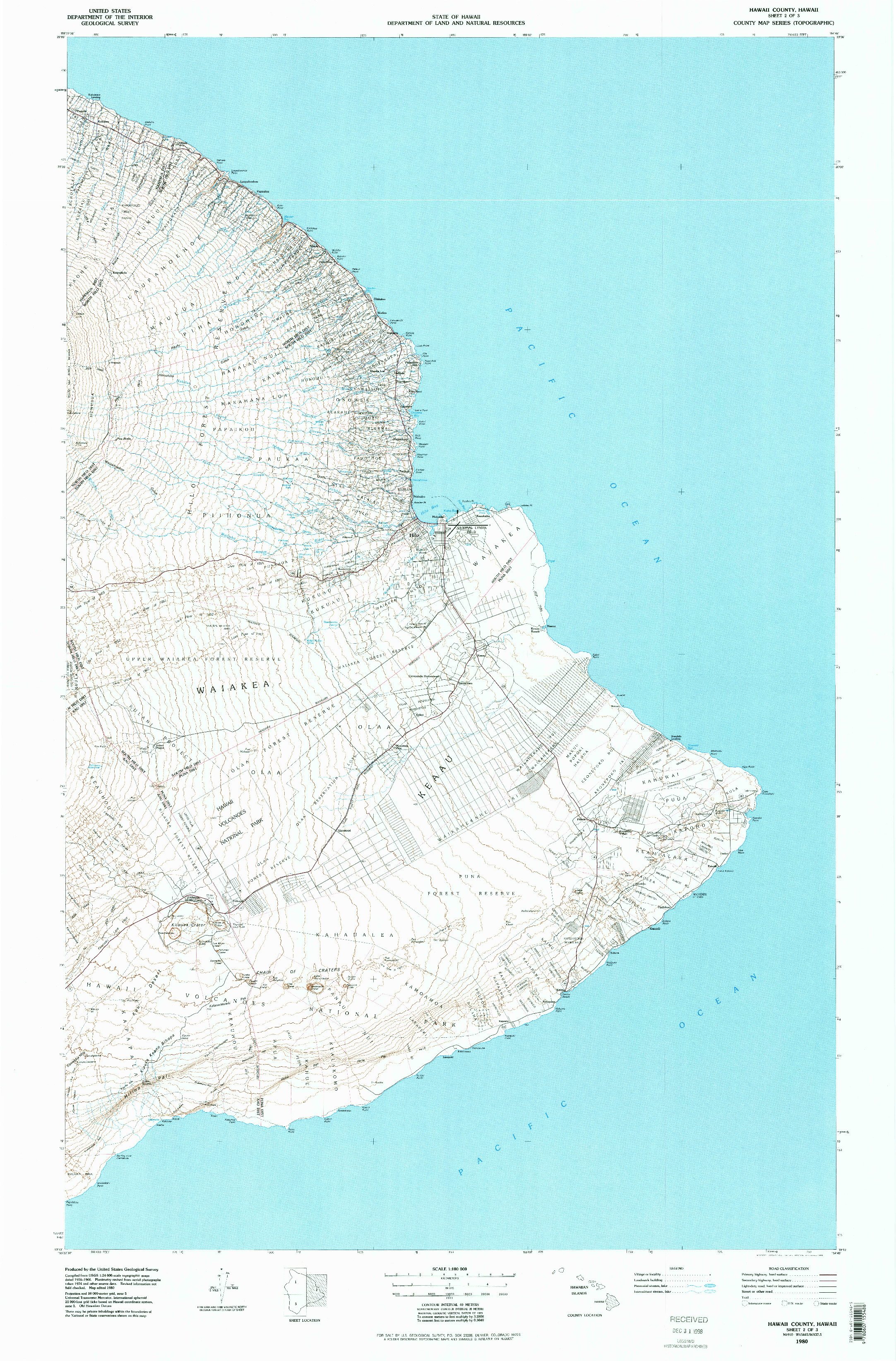 USGS 1:100000-SCALE QUADRANGLE FOR HAWAII COUNTY SHEET 2, HI 1980