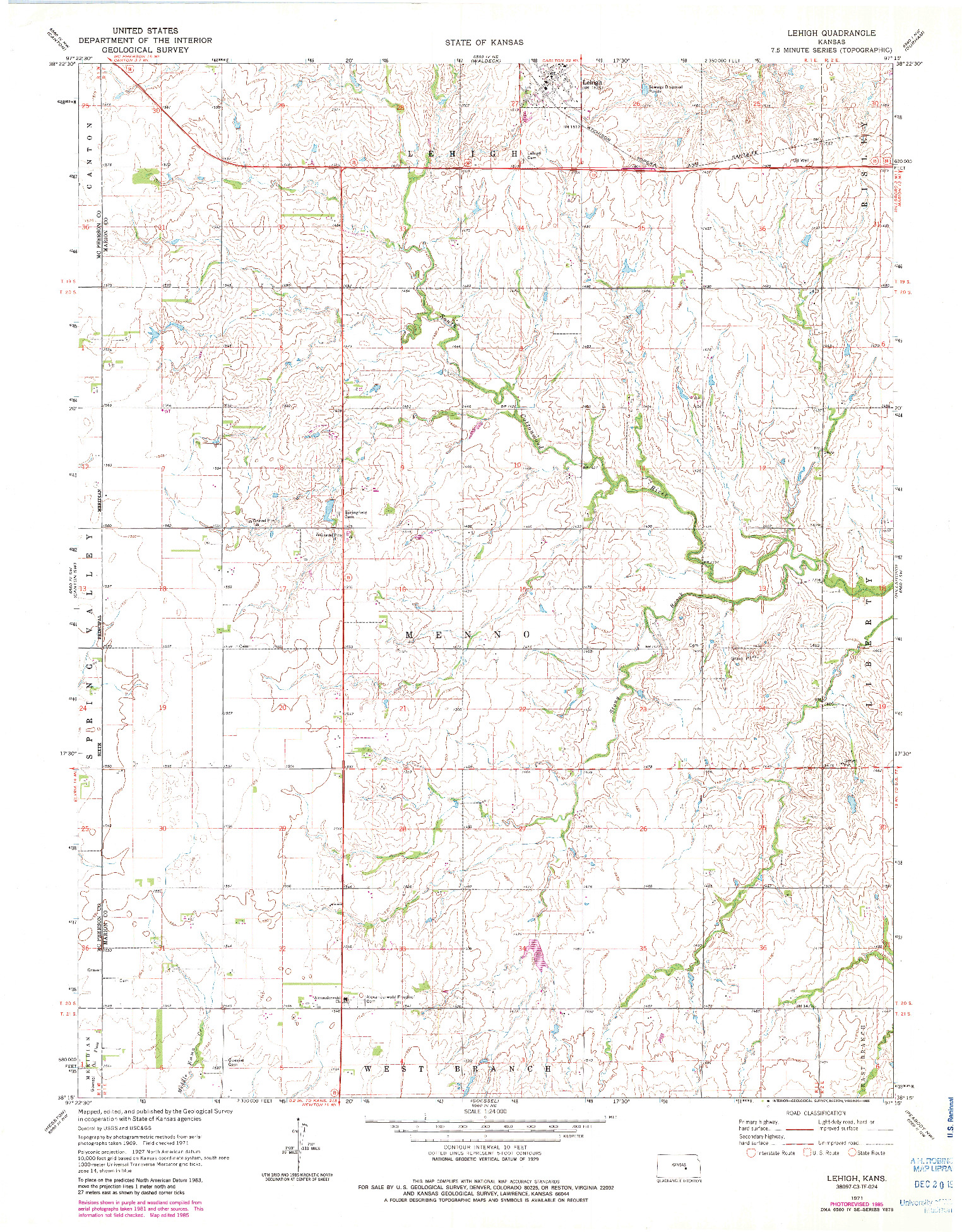 USGS 1:24000-SCALE QUADRANGLE FOR LEHIGH, KS 1971