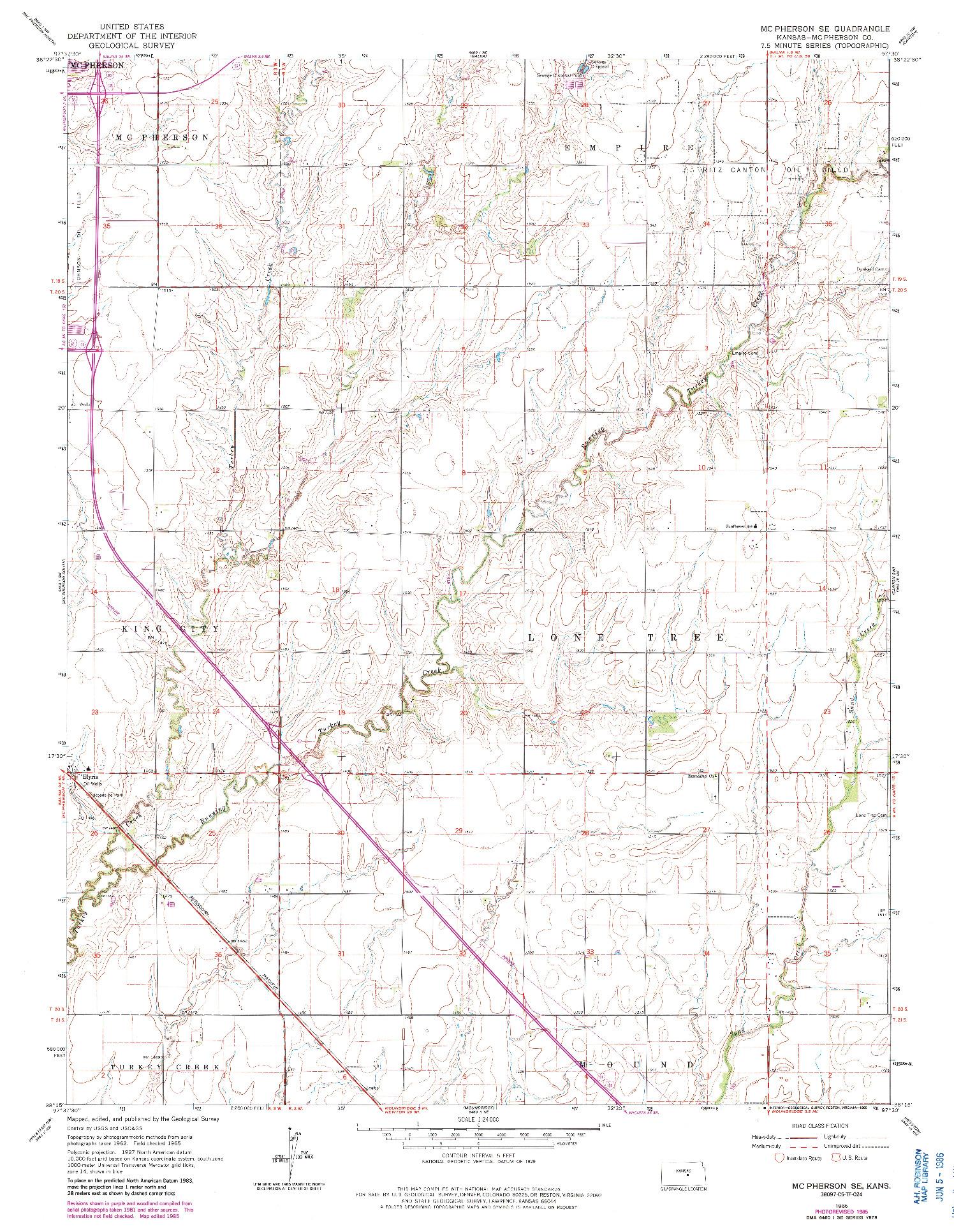 USGS 1:24000-SCALE QUADRANGLE FOR MC PHERSON SE, KS 1965