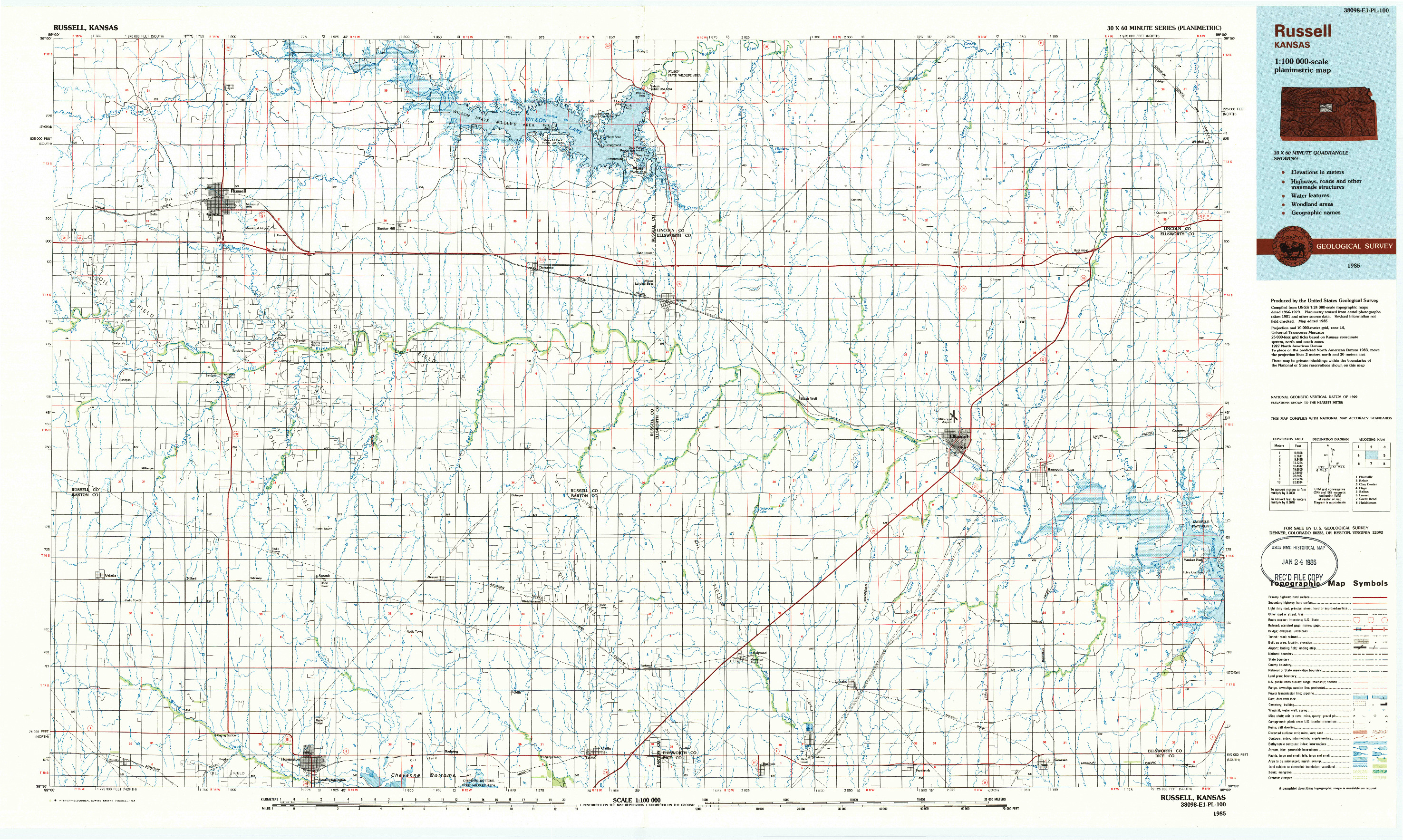 USGS 1:100000-SCALE QUADRANGLE FOR RUSSELL, KS 1985