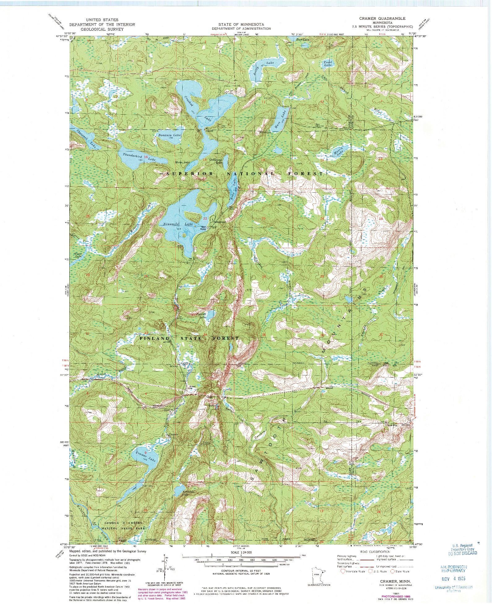 USGS 1:24000-SCALE QUADRANGLE FOR CRAMER, MN 1981