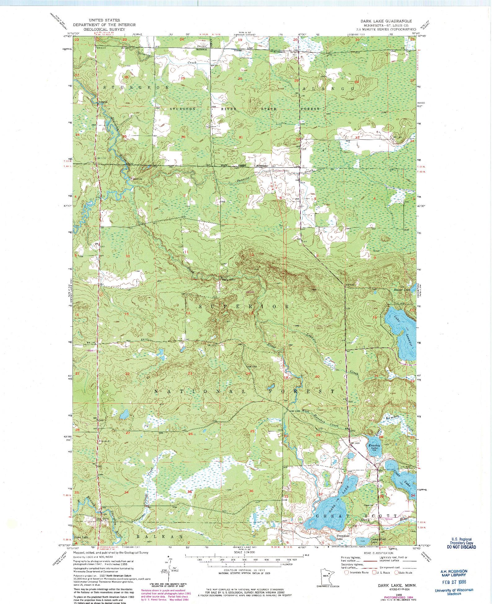 USGS 1:24000-SCALE QUADRANGLE FOR DARK LAKE, MN 1955