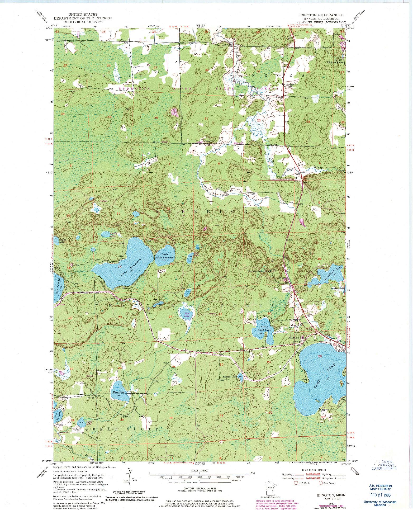 USGS 1:24000-SCALE QUADRANGLE FOR IDINGTON, MN 1952