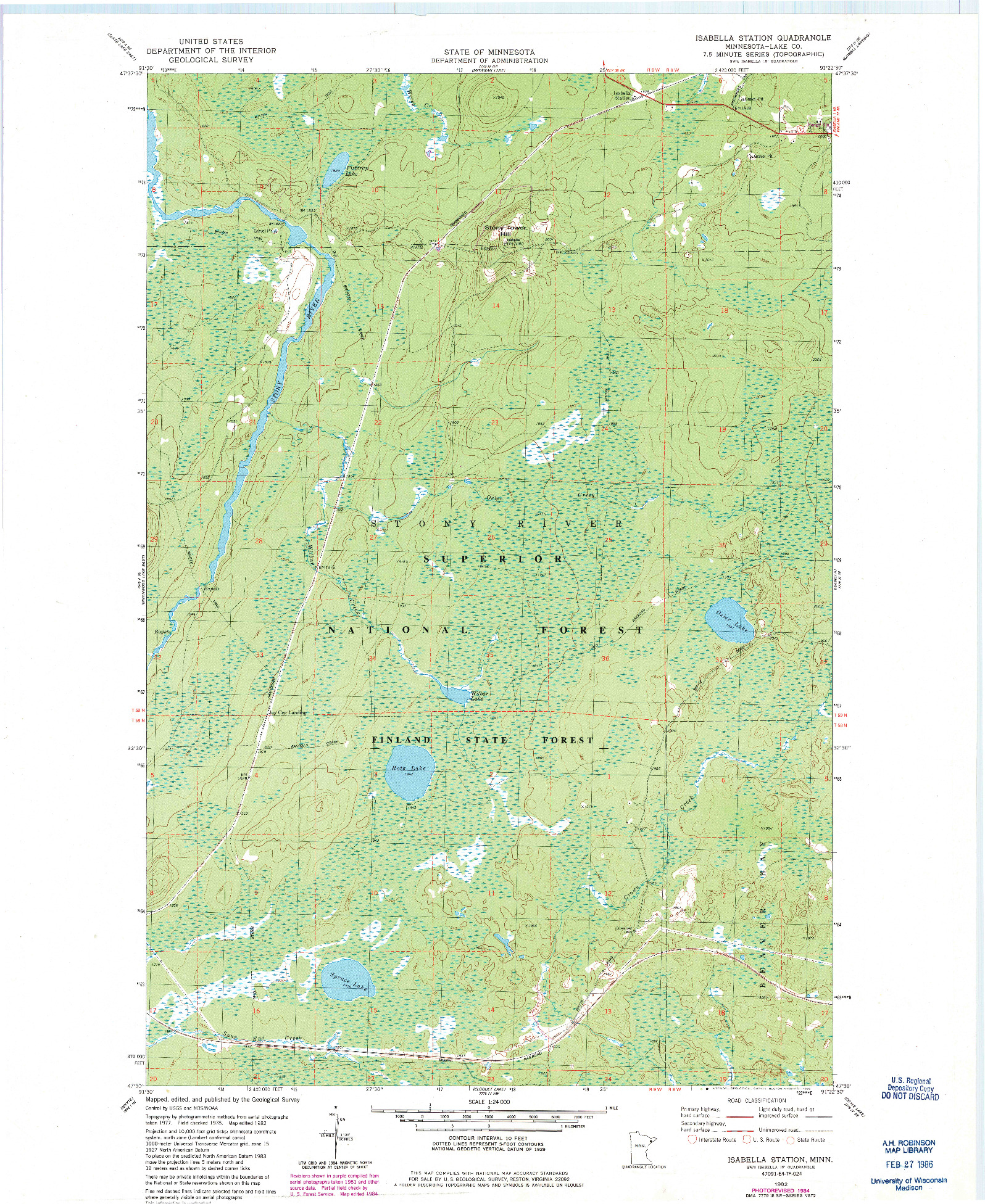 USGS 1:24000-SCALE QUADRANGLE FOR ISABELLA STATION, MN 1982
