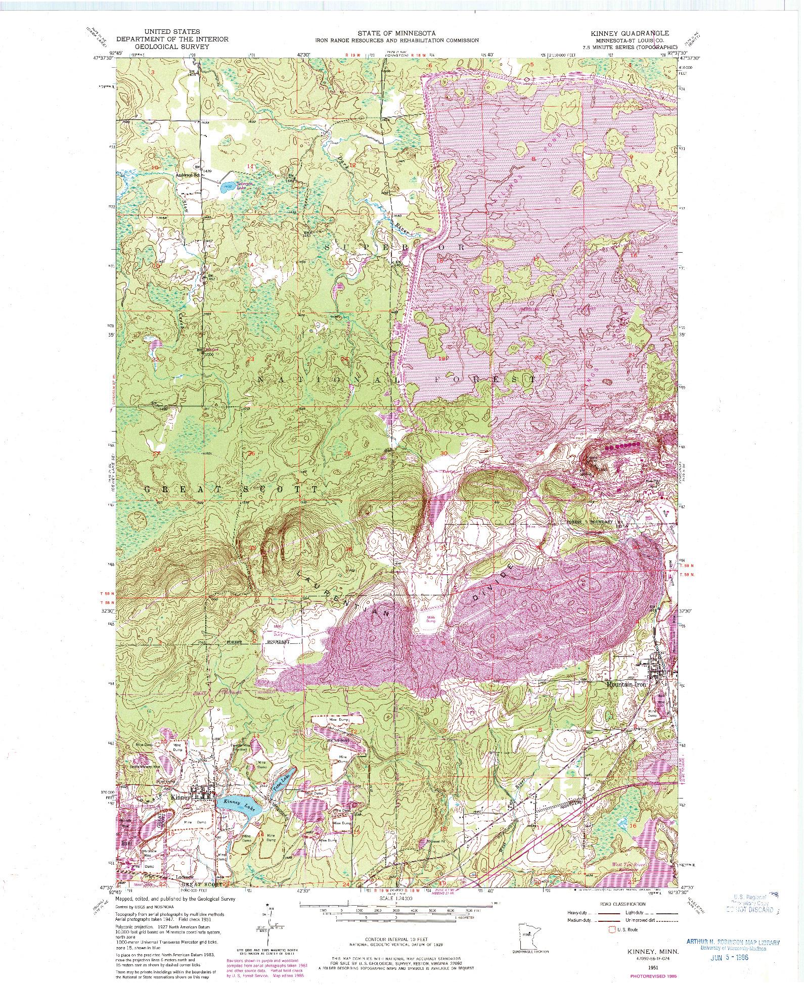 USGS 1:24000-SCALE QUADRANGLE FOR KINNEY, MN 1951