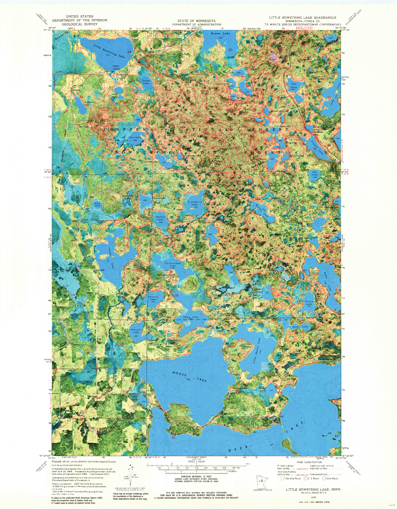 USGS 1:24000-SCALE QUADRANGLE FOR LITTLE BOWSTRING LAKE, MN 1970
