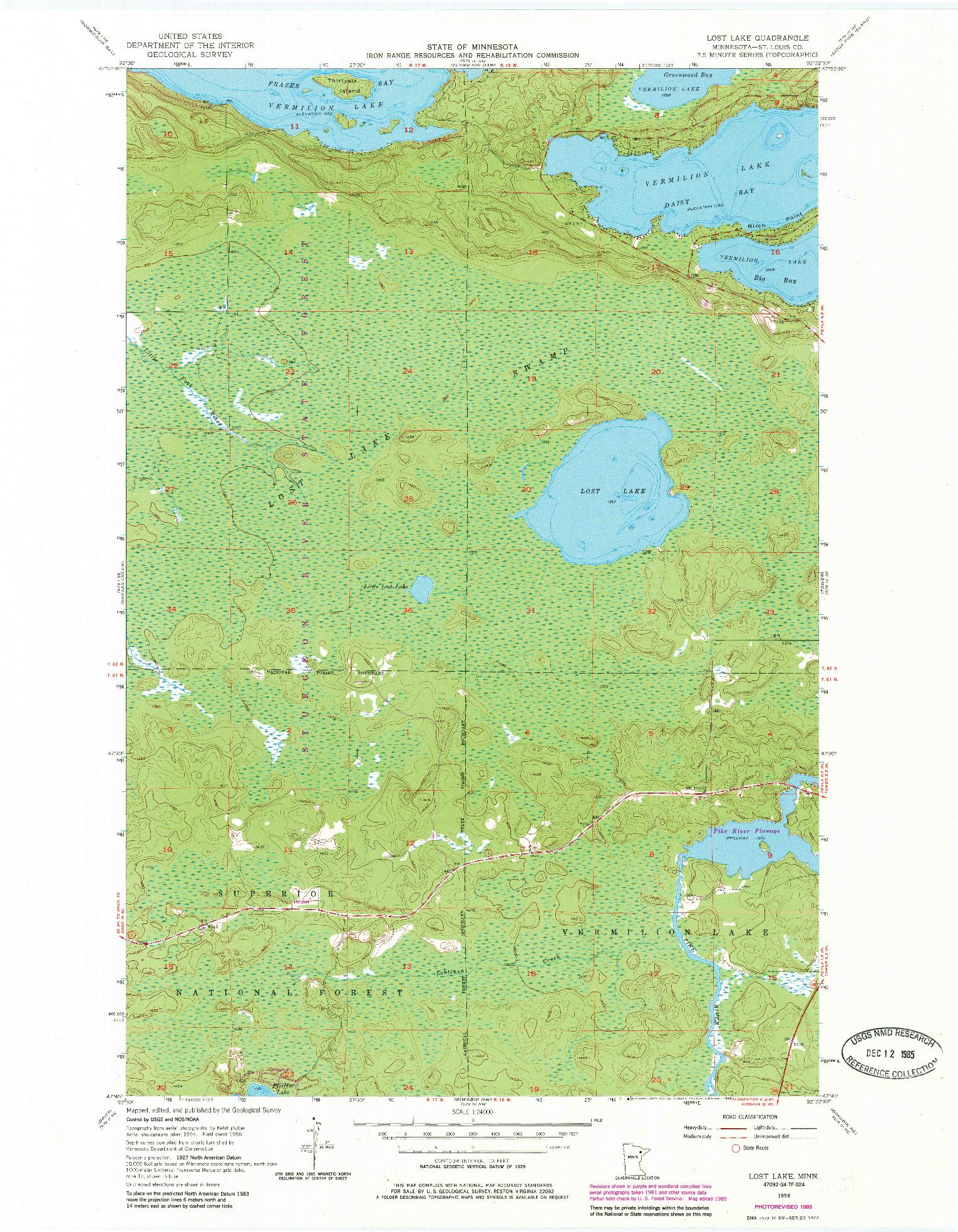 USGS 1:24000-SCALE QUADRANGLE FOR LOST LAKE, MN 1956