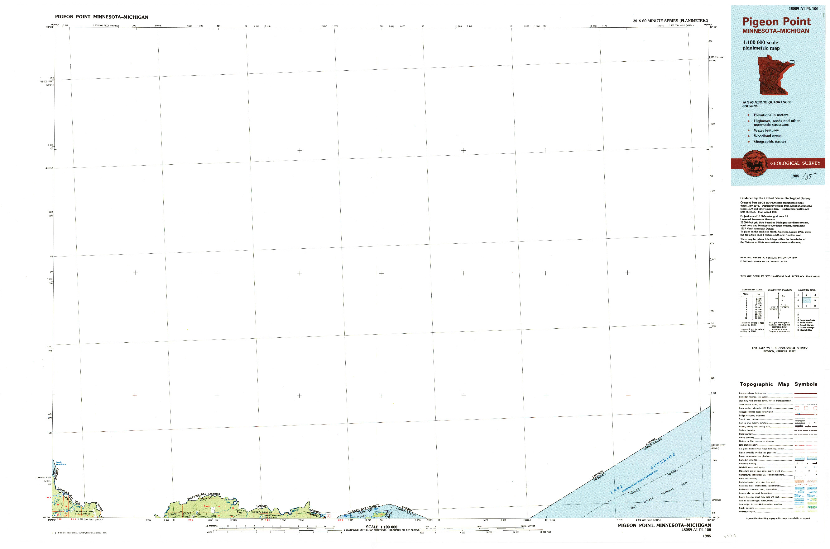 USGS 1:100000-SCALE QUADRANGLE FOR PIGEON POINT, MN 1985