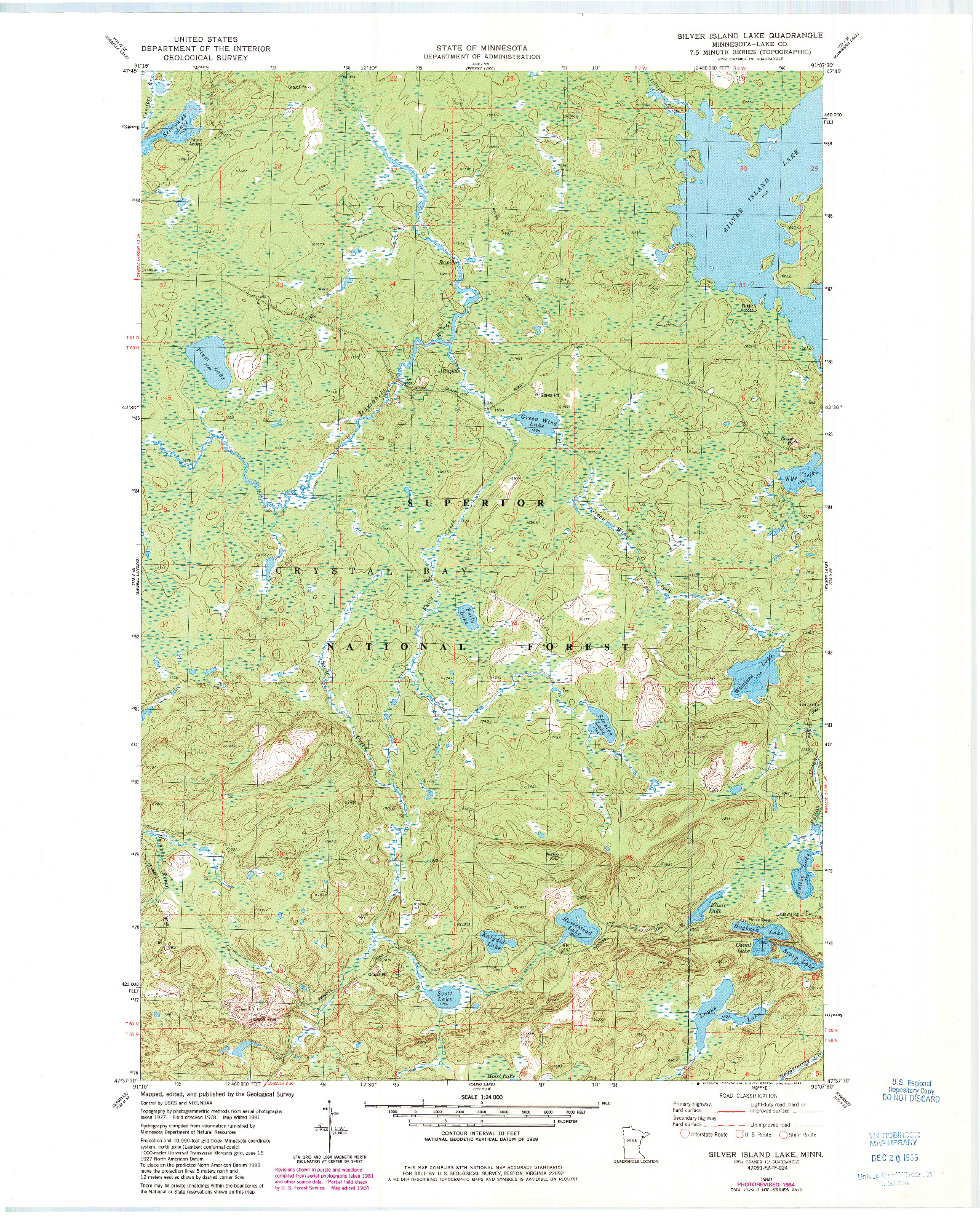 USGS 1:24000-SCALE QUADRANGLE FOR SILVER ISLAND LAKE, MN 1981