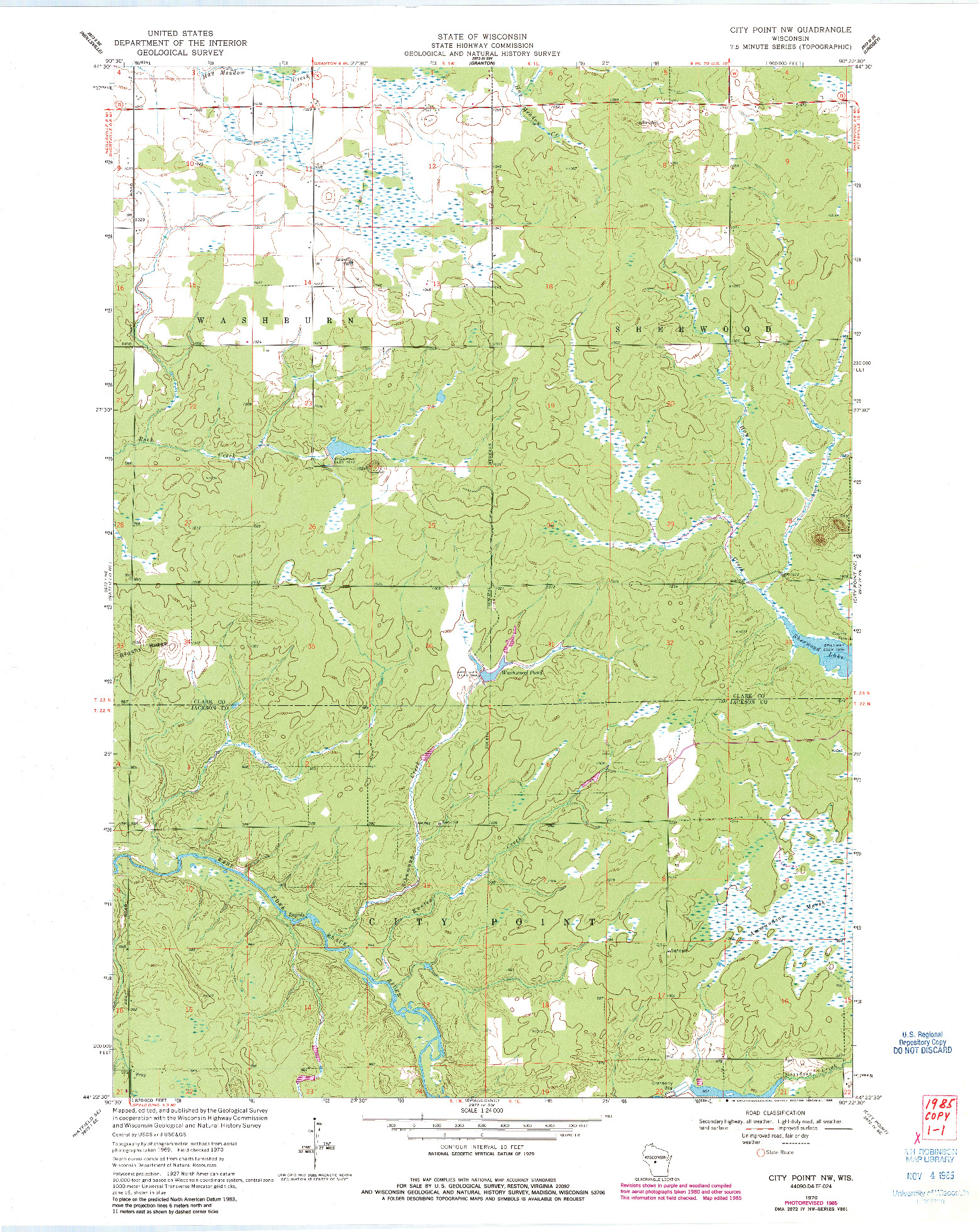 USGS 1:24000-SCALE QUADRANGLE FOR CITY POINT NW, WI 1970