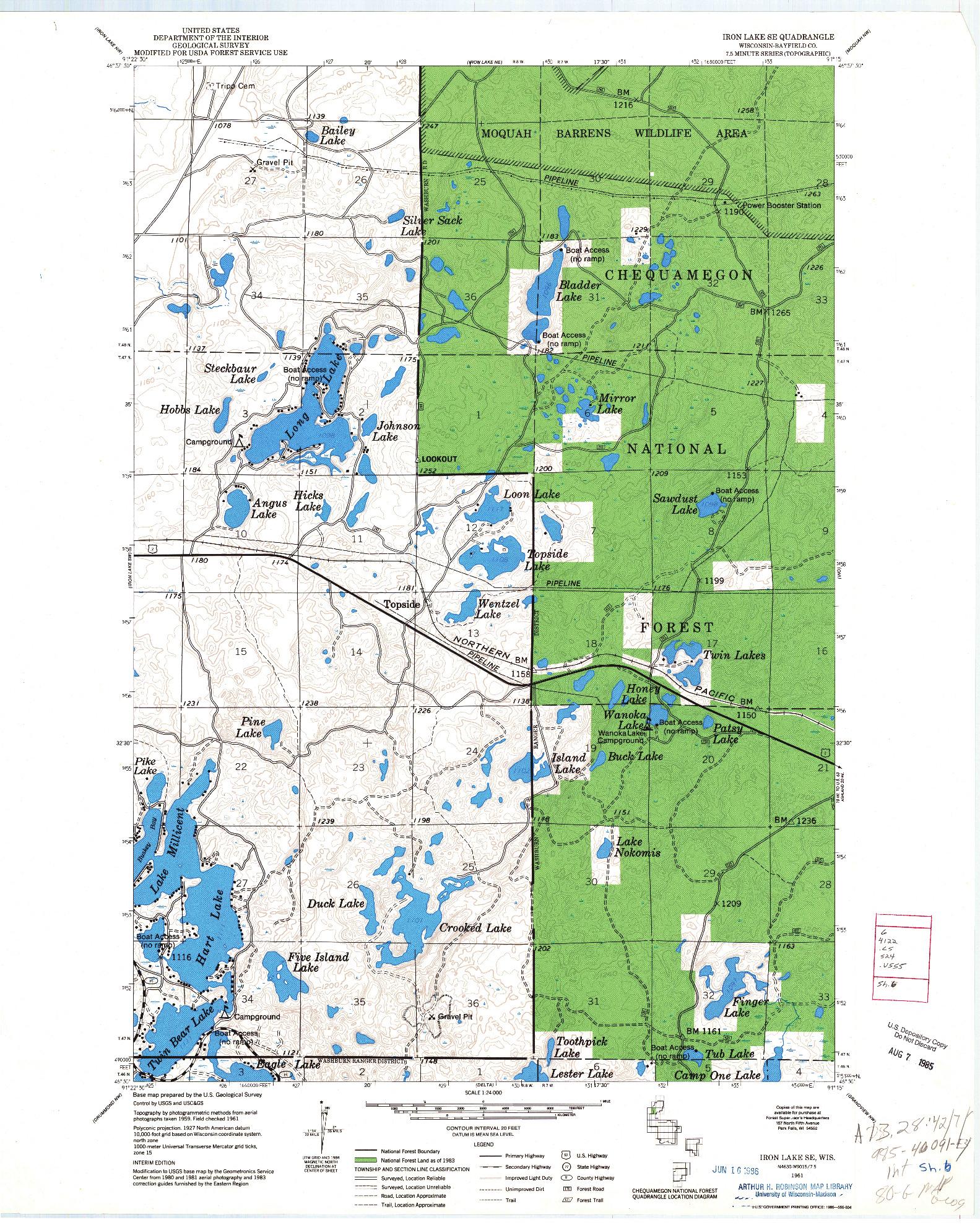 USGS 1:24000-SCALE QUADRANGLE FOR IRON LAKE SE, WI 1961