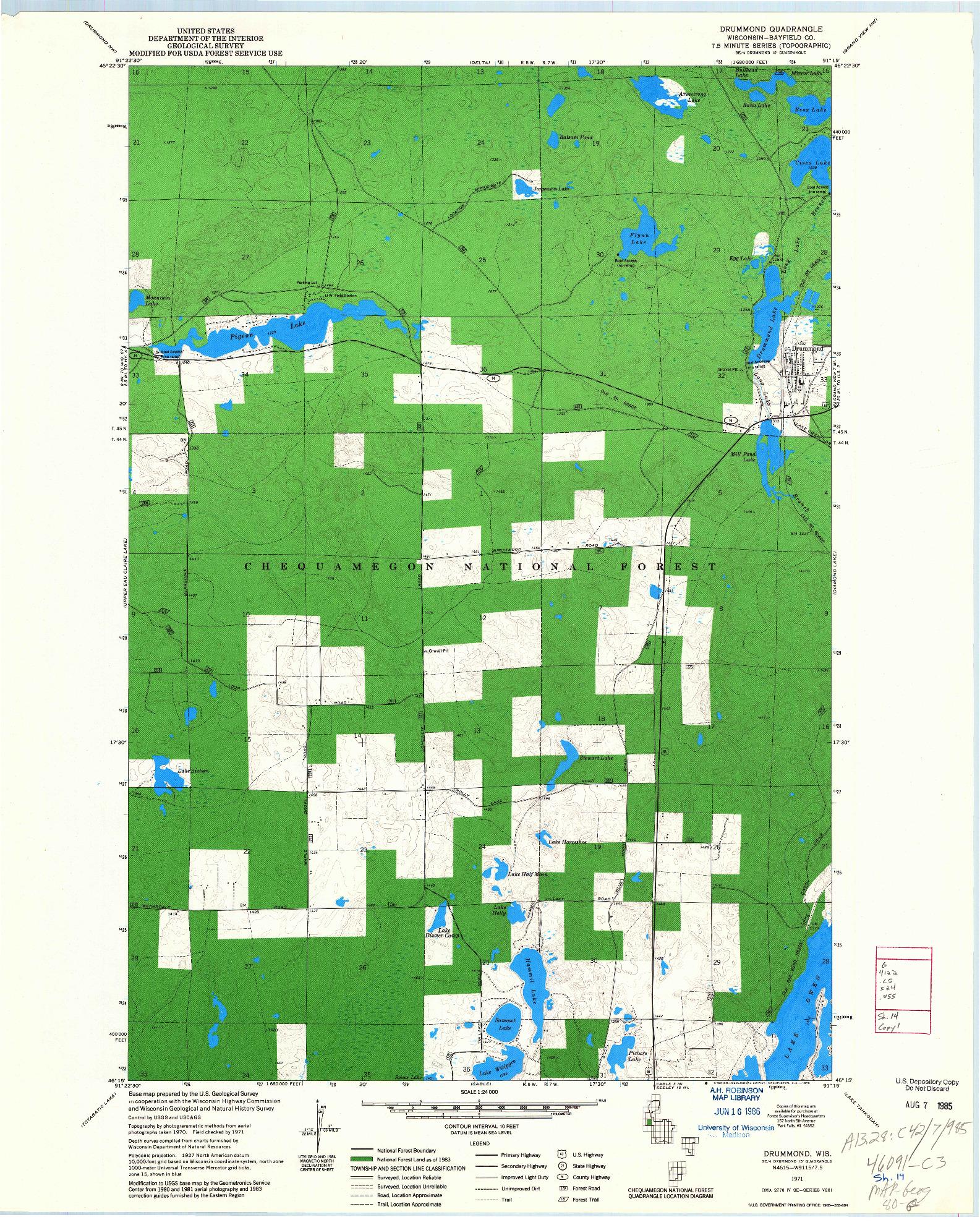 USGS 1:24000-SCALE QUADRANGLE FOR DRUMMOND, WI 1971