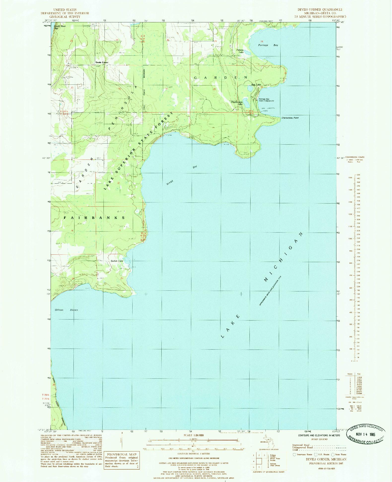 USGS 1:24000-SCALE QUADRANGLE FOR DEVILS CORNER, MI 1985