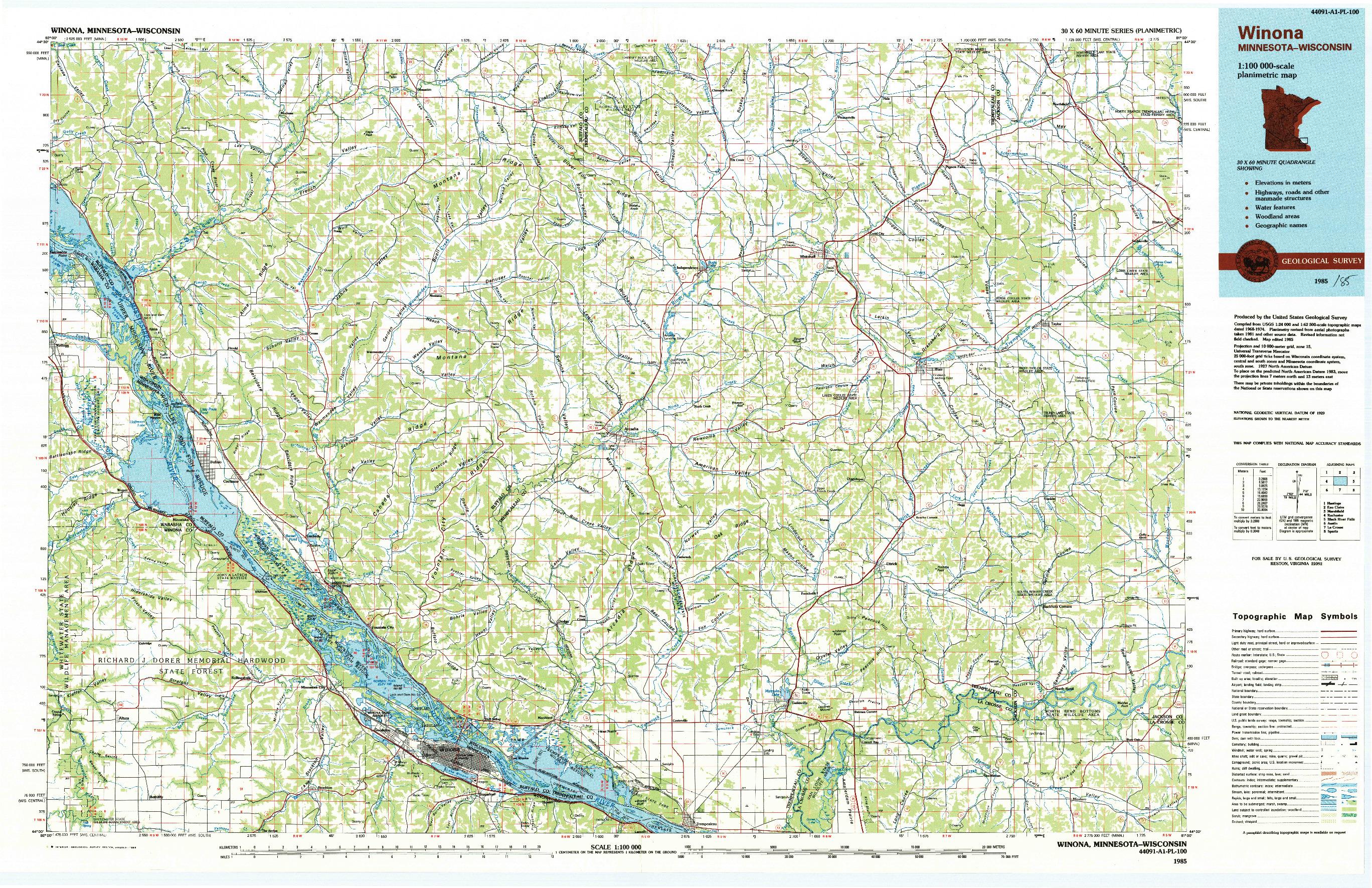 USGS 1:100000-SCALE QUADRANGLE FOR WINONA, MN 1985