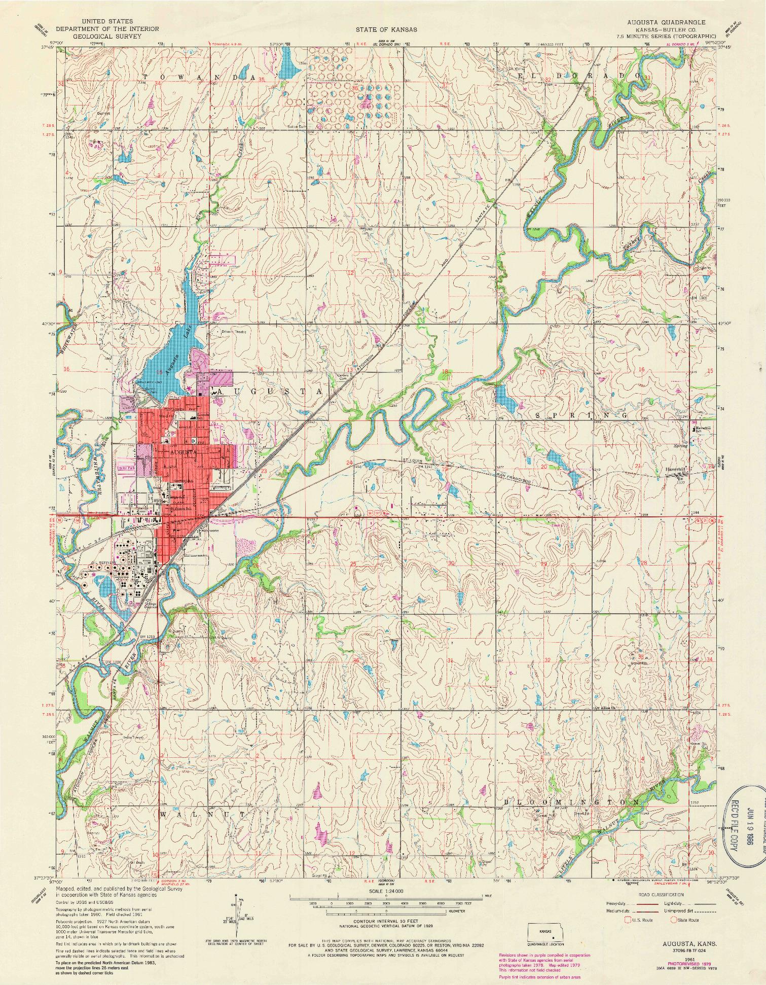 USGS 1:24000-SCALE QUADRANGLE FOR AUGUSTA, KS 1961