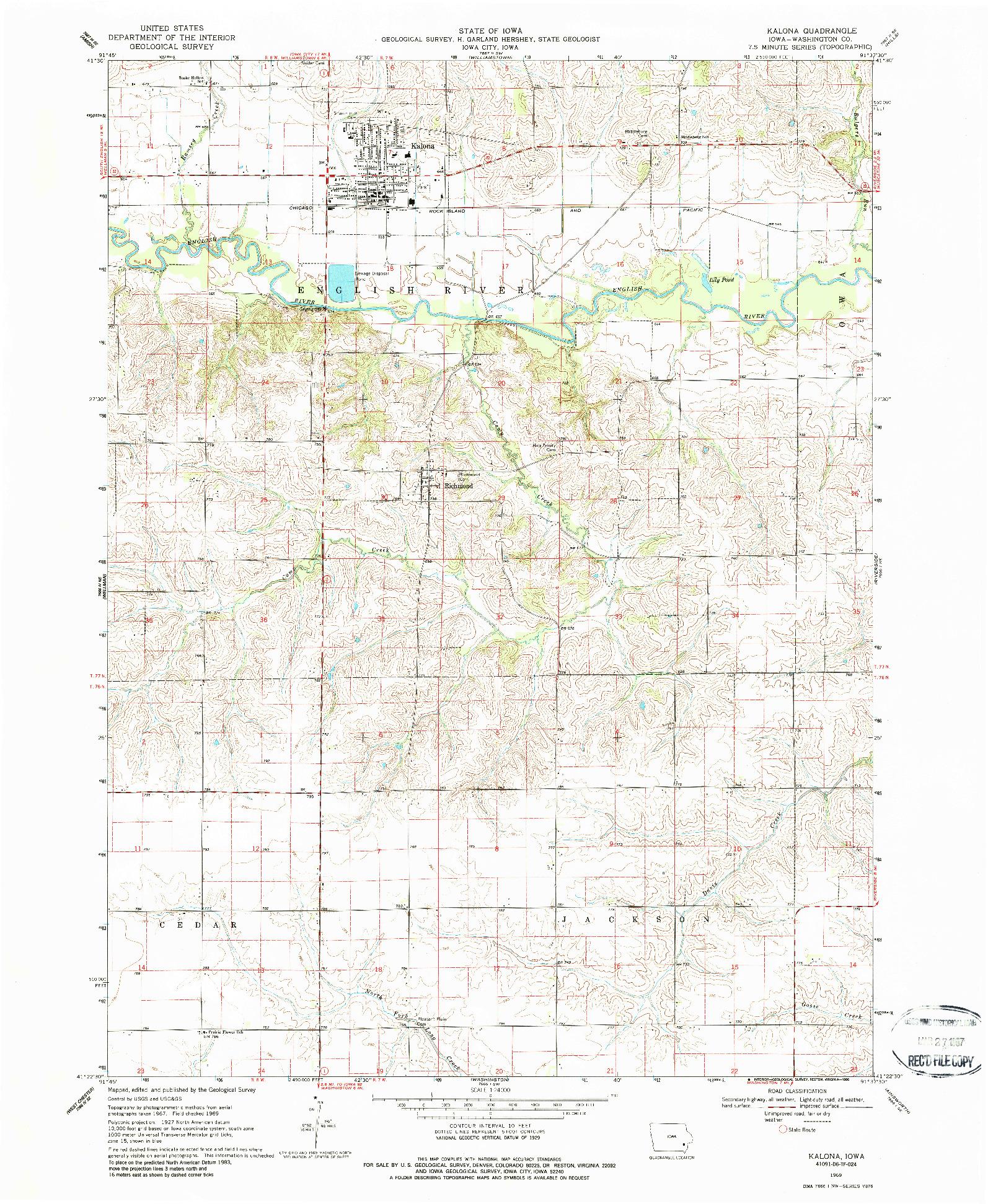 USGS 1:24000-SCALE QUADRANGLE FOR KALONA, IA 1969