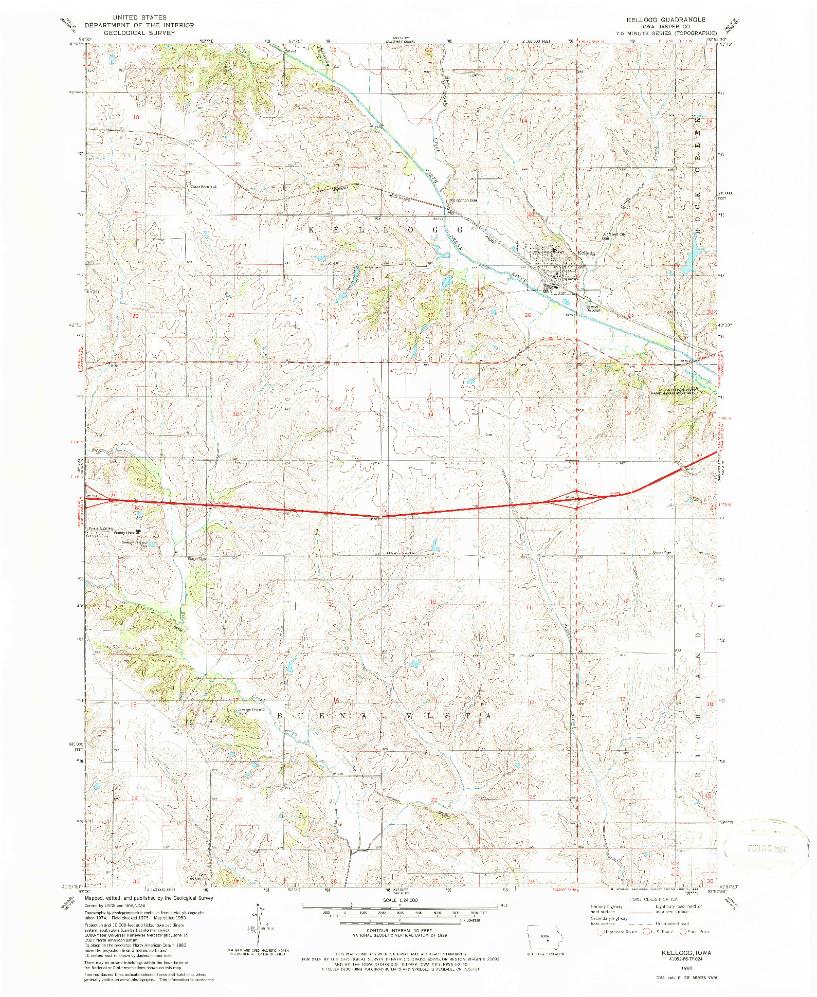USGS 1:24000-SCALE QUADRANGLE FOR KELLOGG, IA 1980