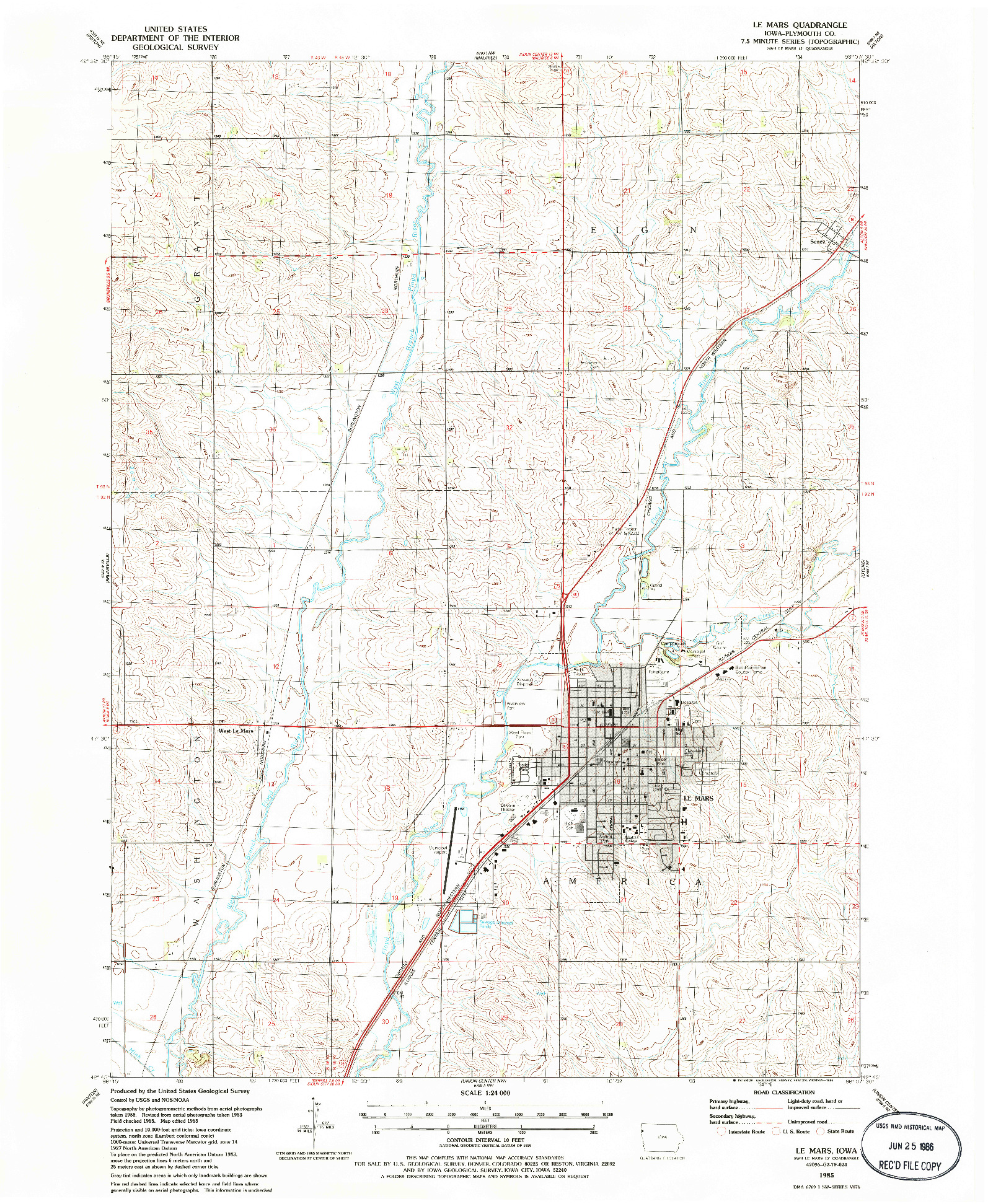 USGS 1:24000-SCALE QUADRANGLE FOR LE MARS, IA 1985