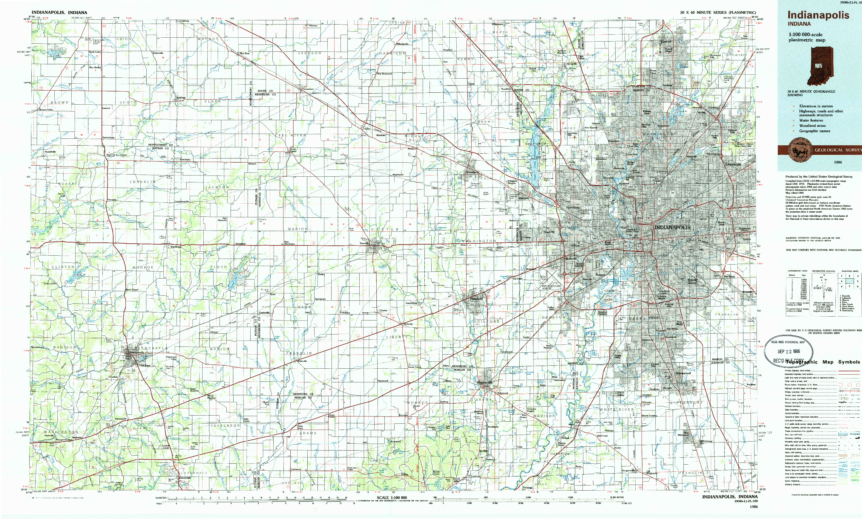 USGS 1:100000-SCALE QUADRANGLE FOR INDIANAPOLIS, IN 1986