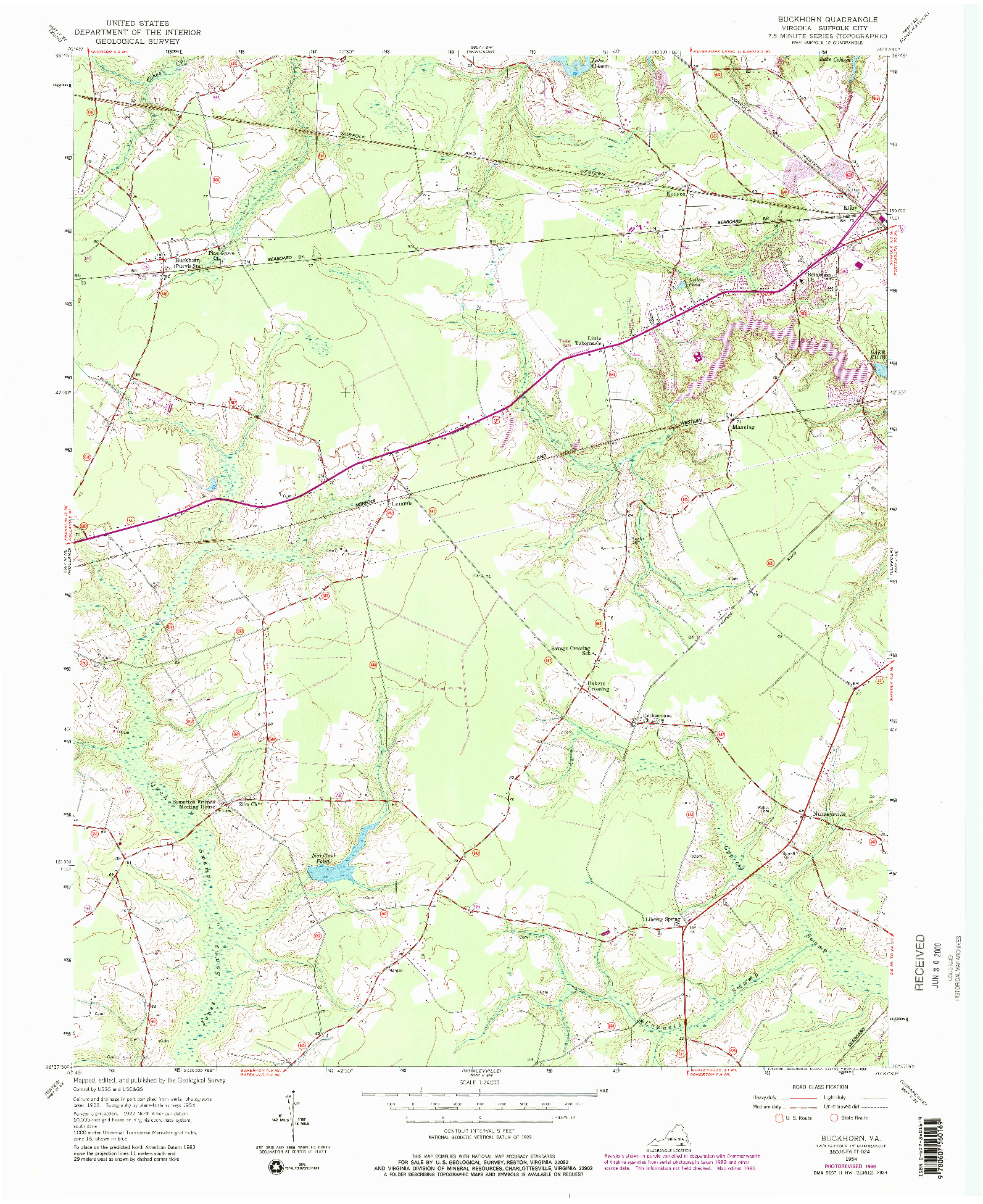 USGS 1:24000-SCALE QUADRANGLE FOR BUCKHORN, VA 1954