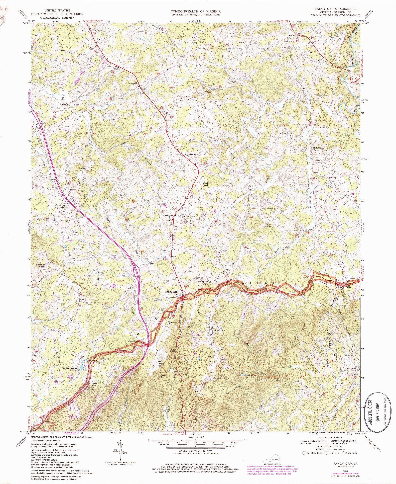 USGS 1:24000-SCALE QUADRANGLE FOR FANCY GAP, VA 1968