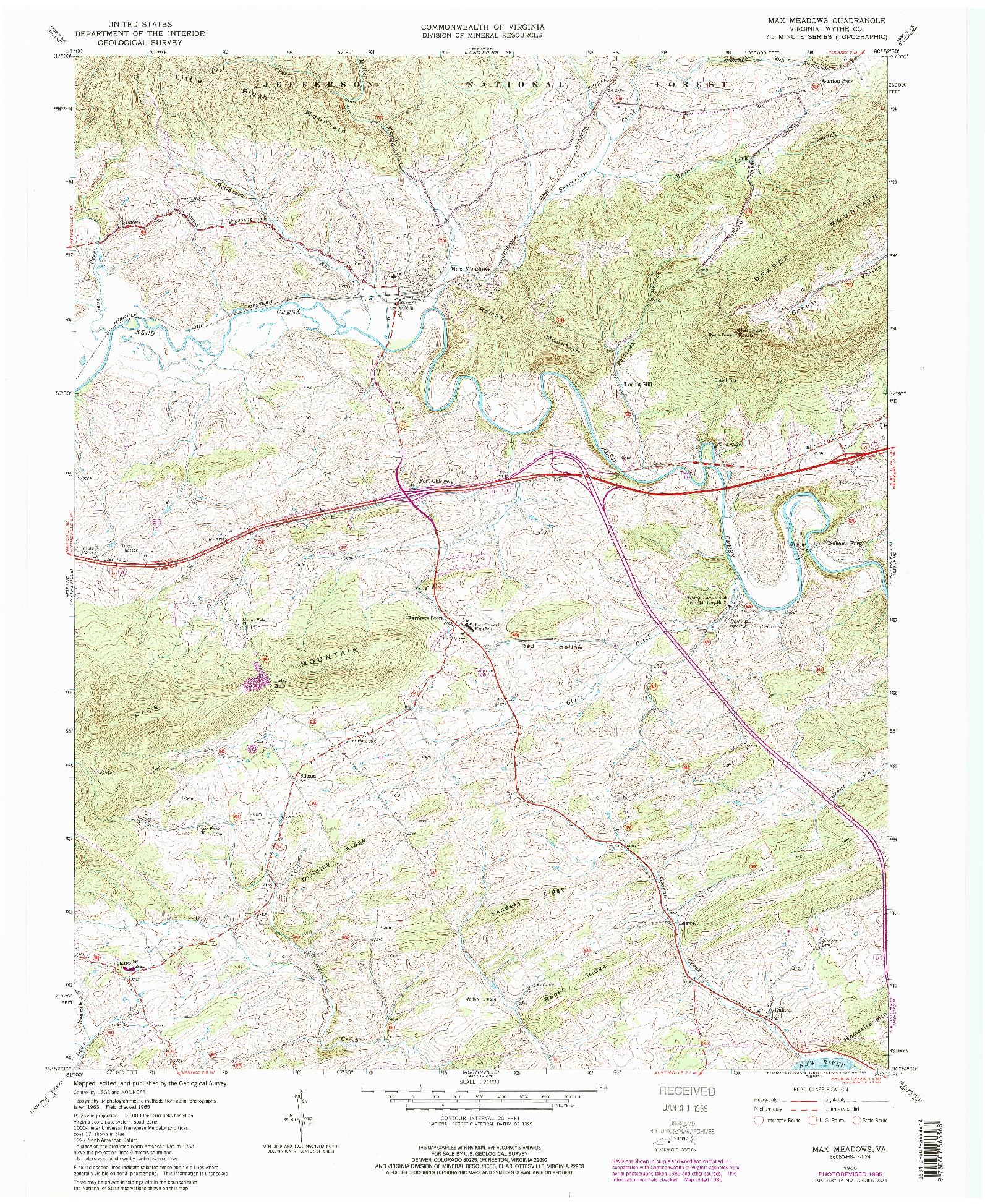 USGS 1:24000-SCALE QUADRANGLE FOR MAX MEADOWS, VA 1965