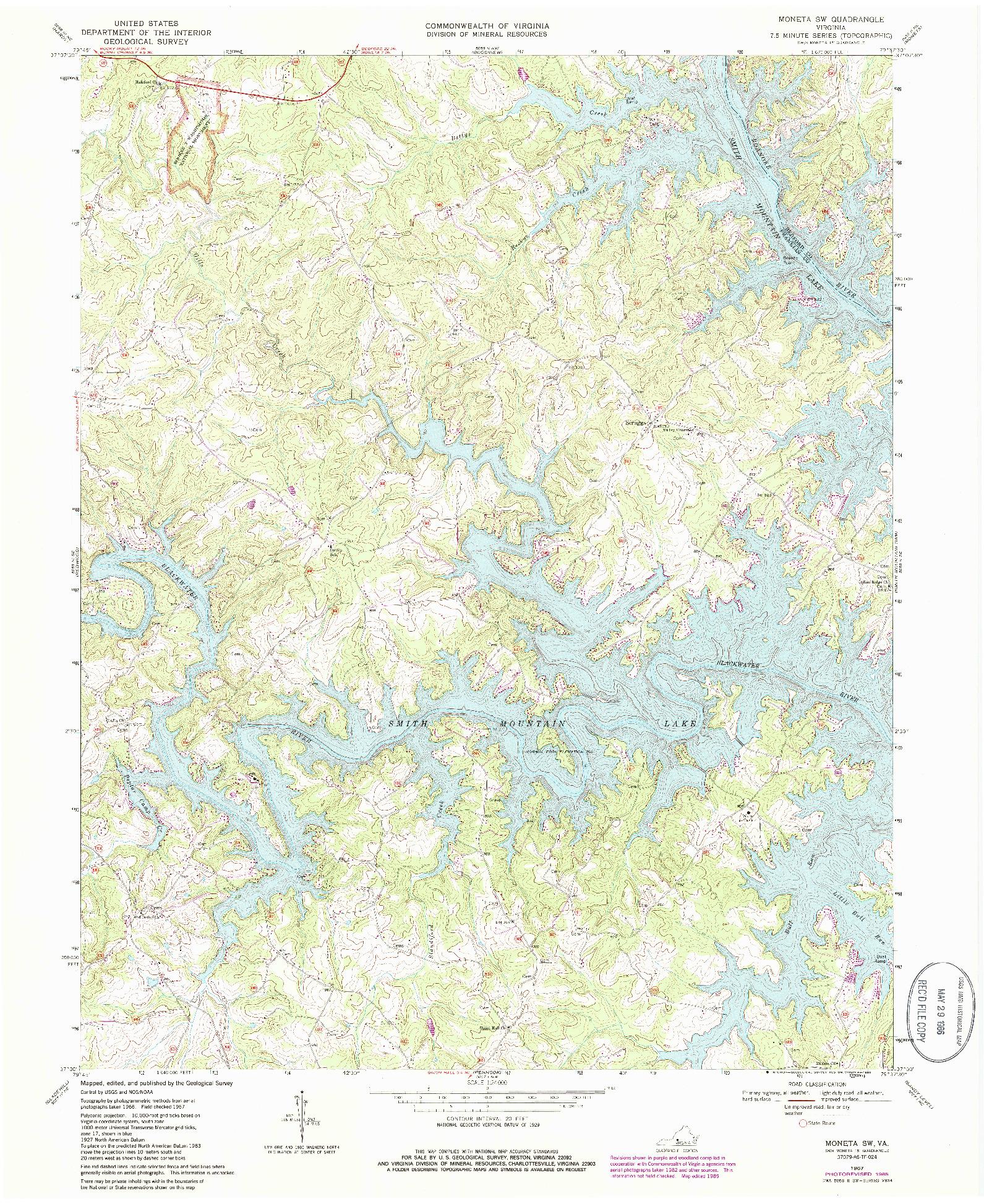 USGS 1:24000-SCALE QUADRANGLE FOR MONETA SW, VA 1967