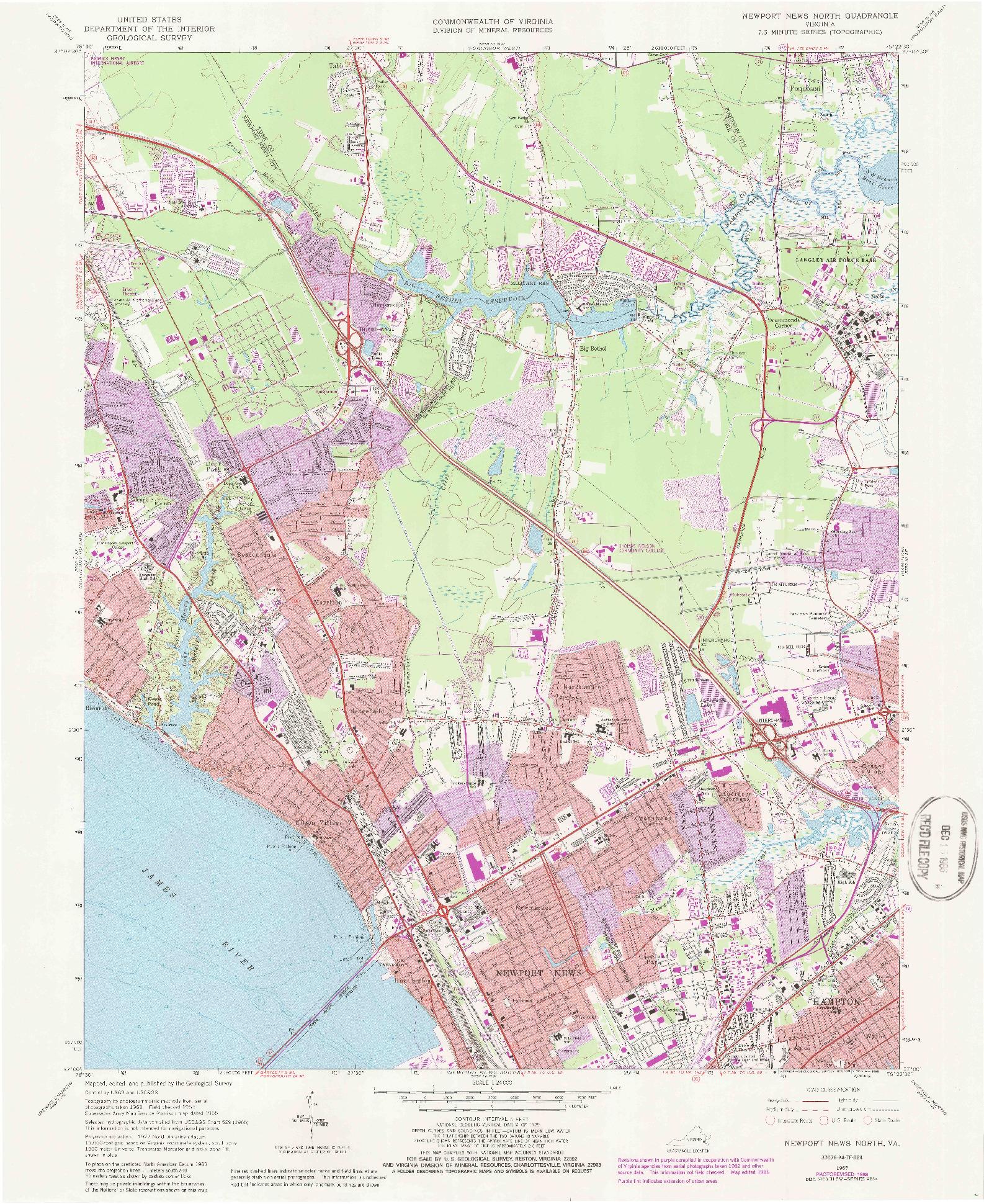 USGS 1:24000-SCALE QUADRANGLE FOR NEWPORT NEWS NORTH, VA 1965