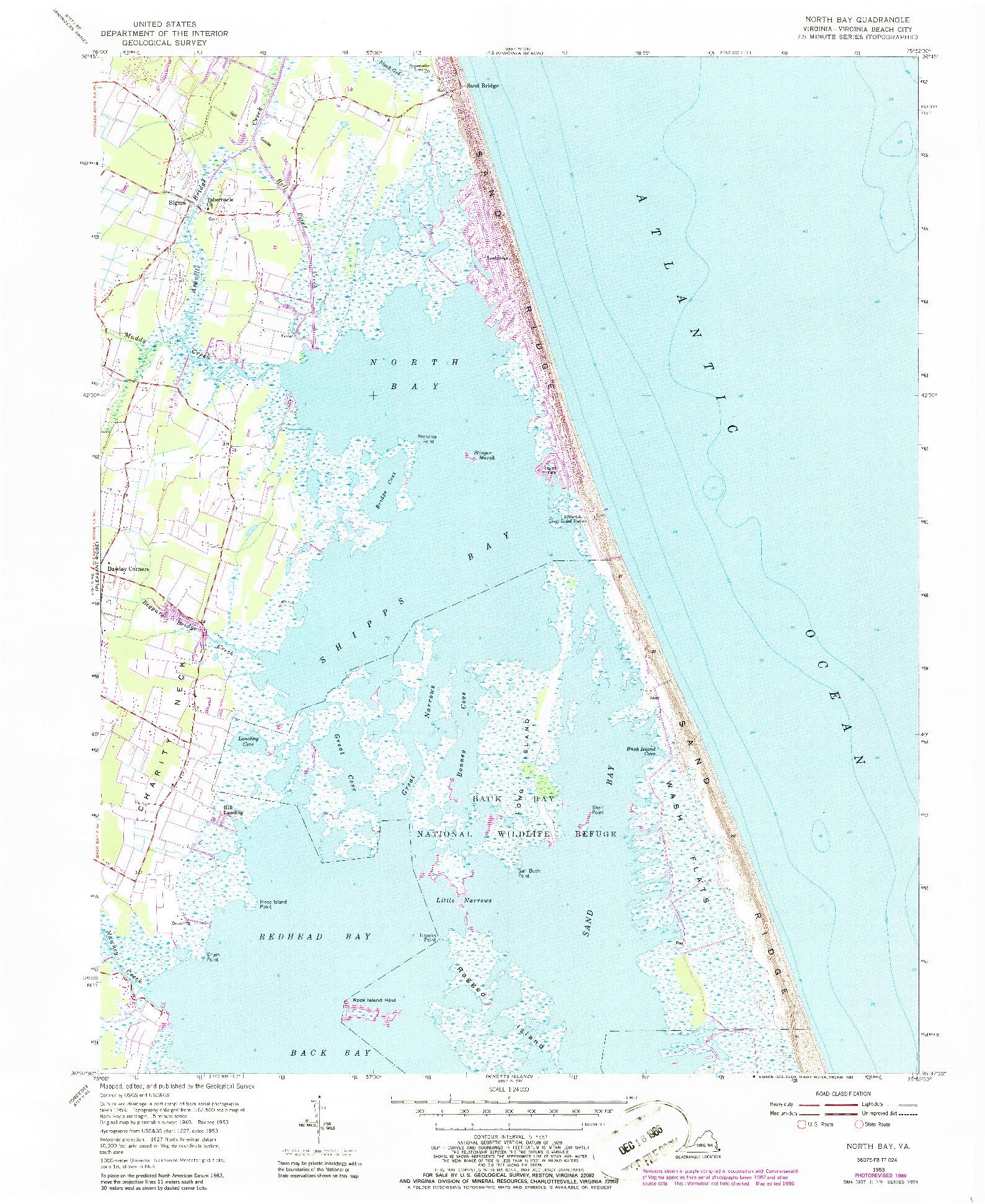 USGS 1:24000-SCALE QUADRANGLE FOR NORTH BAY, VA 1953