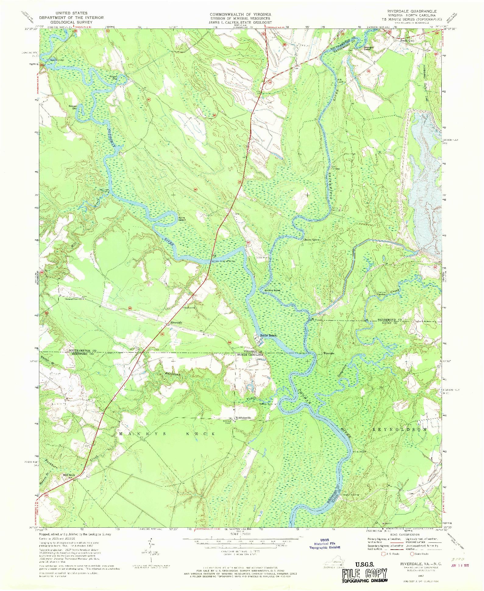 USGS 1:24000-SCALE QUADRANGLE FOR RIVERDALE, VA 1967