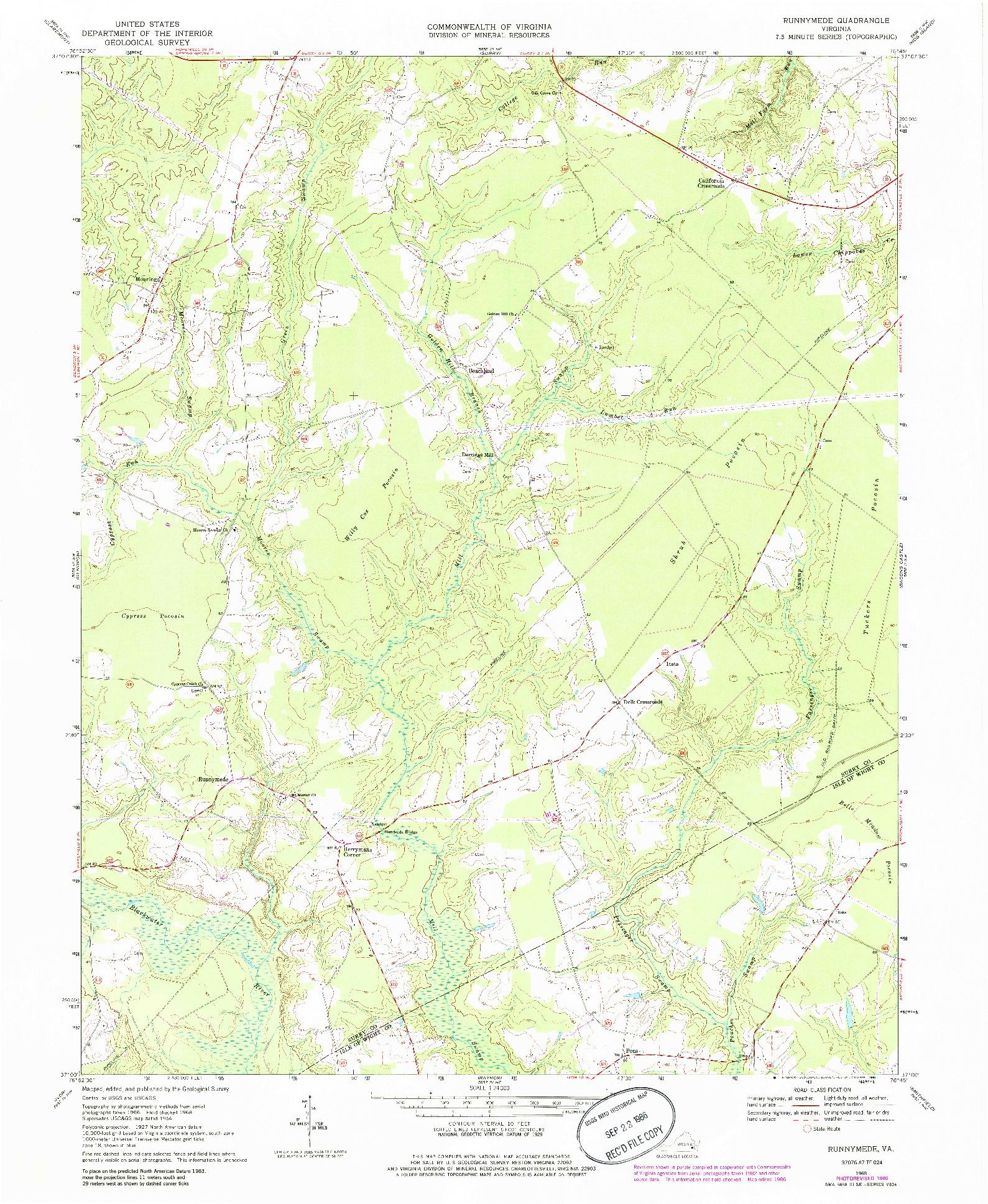 USGS 1:24000-SCALE QUADRANGLE FOR RUNNYMEDE, VA 1968