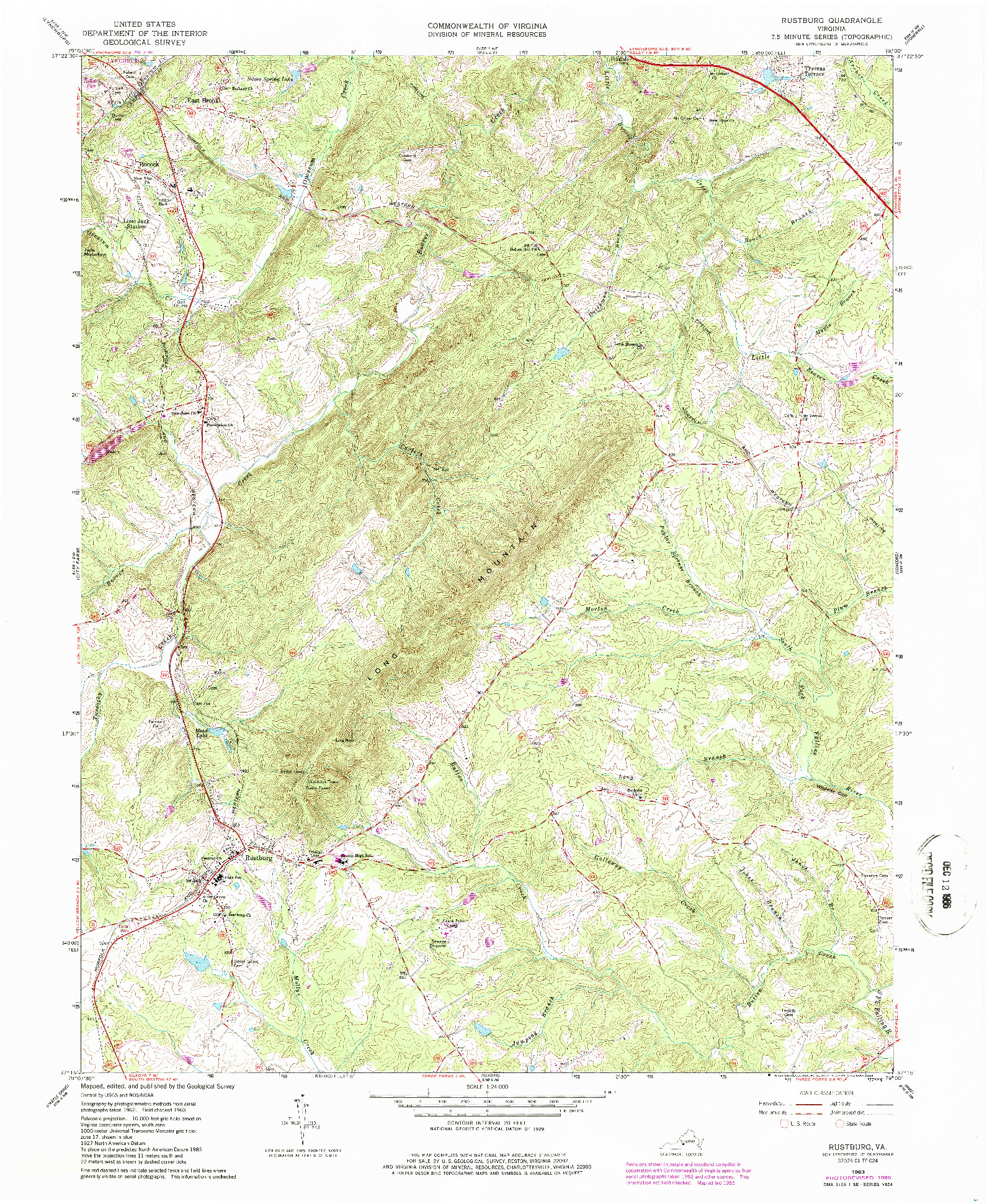 USGS 1:24000-SCALE QUADRANGLE FOR RUSTBURG, VA 1963
