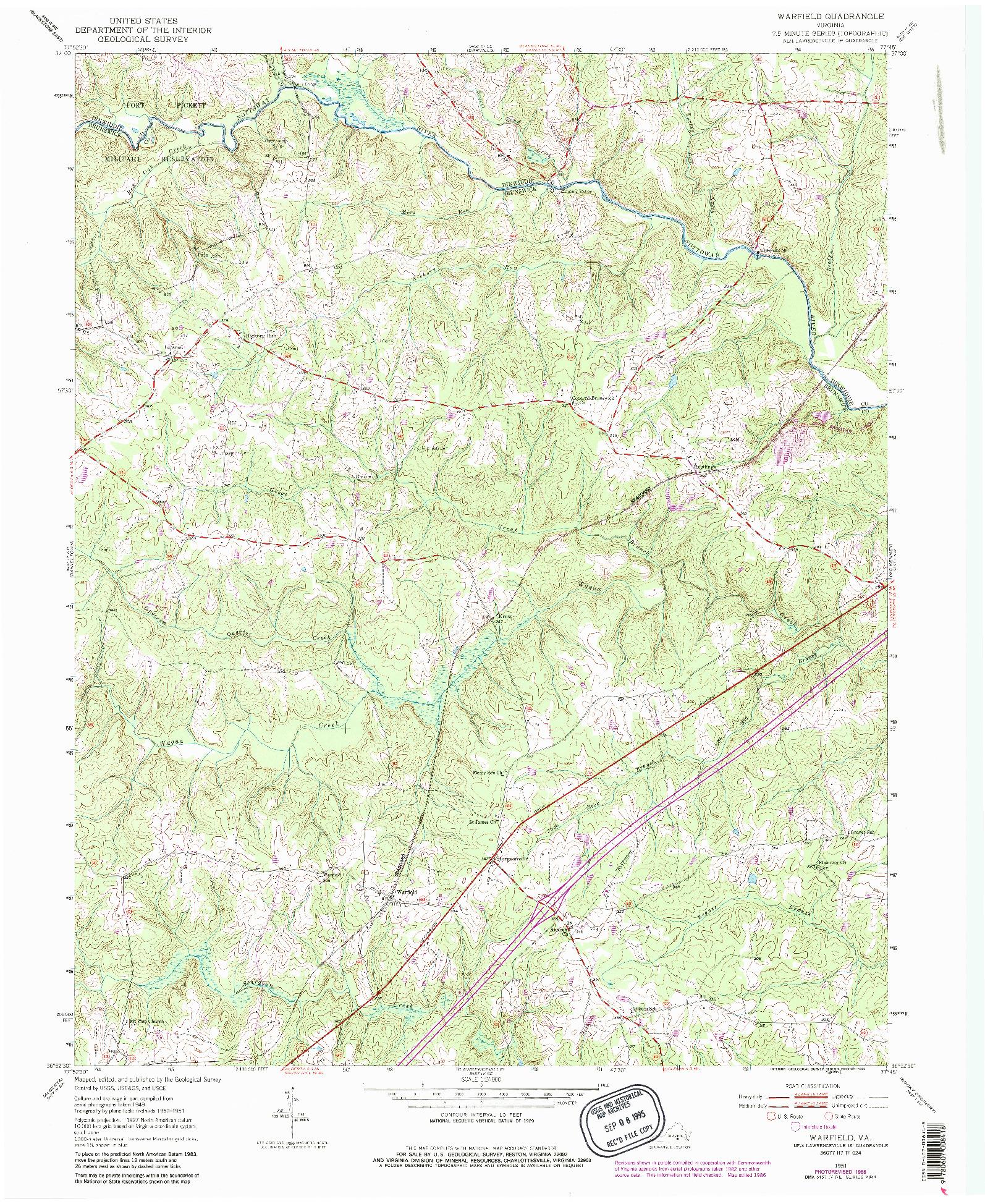 USGS 1:24000-SCALE QUADRANGLE FOR WARFIELD, VA 1951