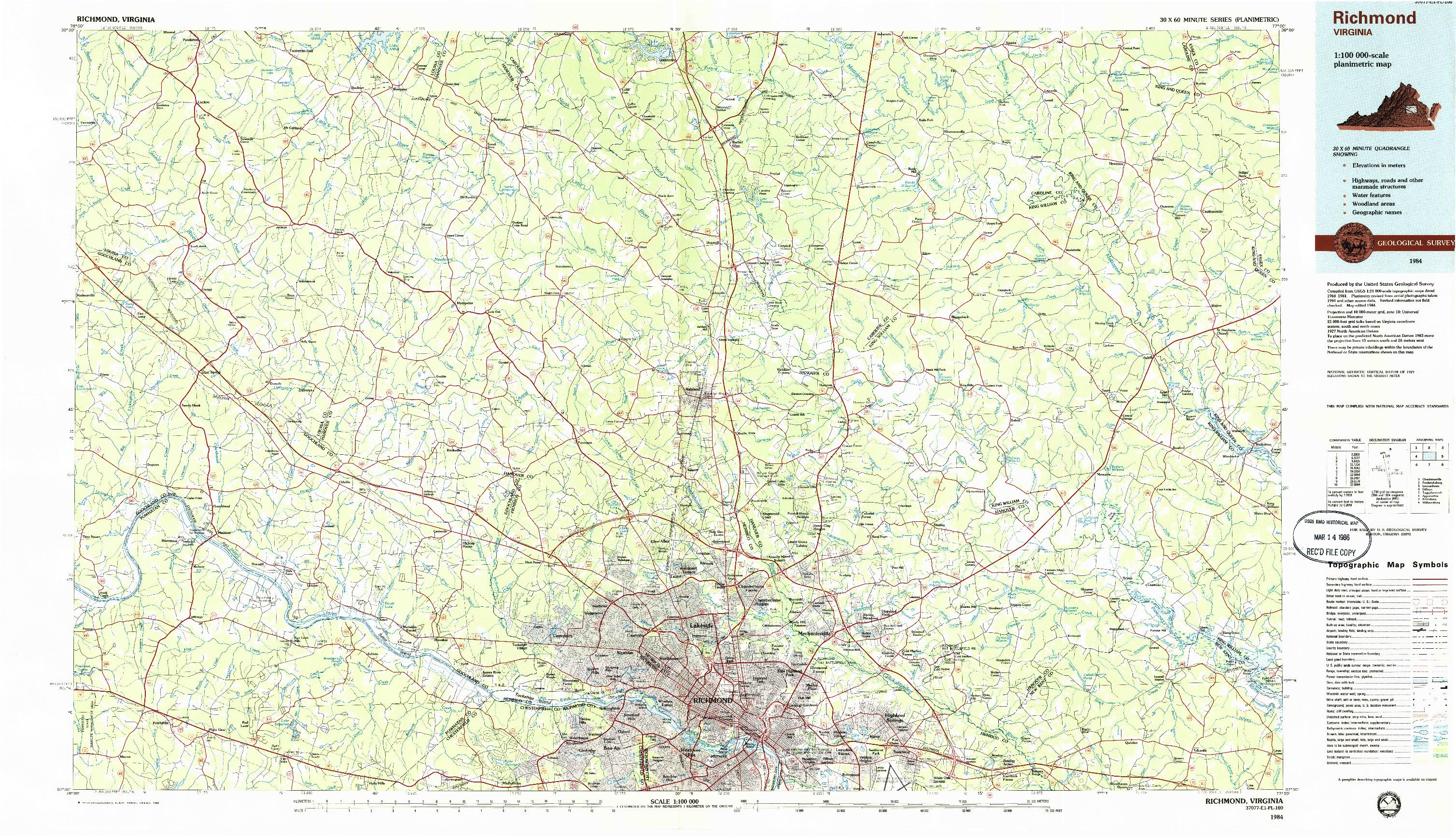 USGS 1:100000-SCALE QUADRANGLE FOR RICHMOND, VA 1984