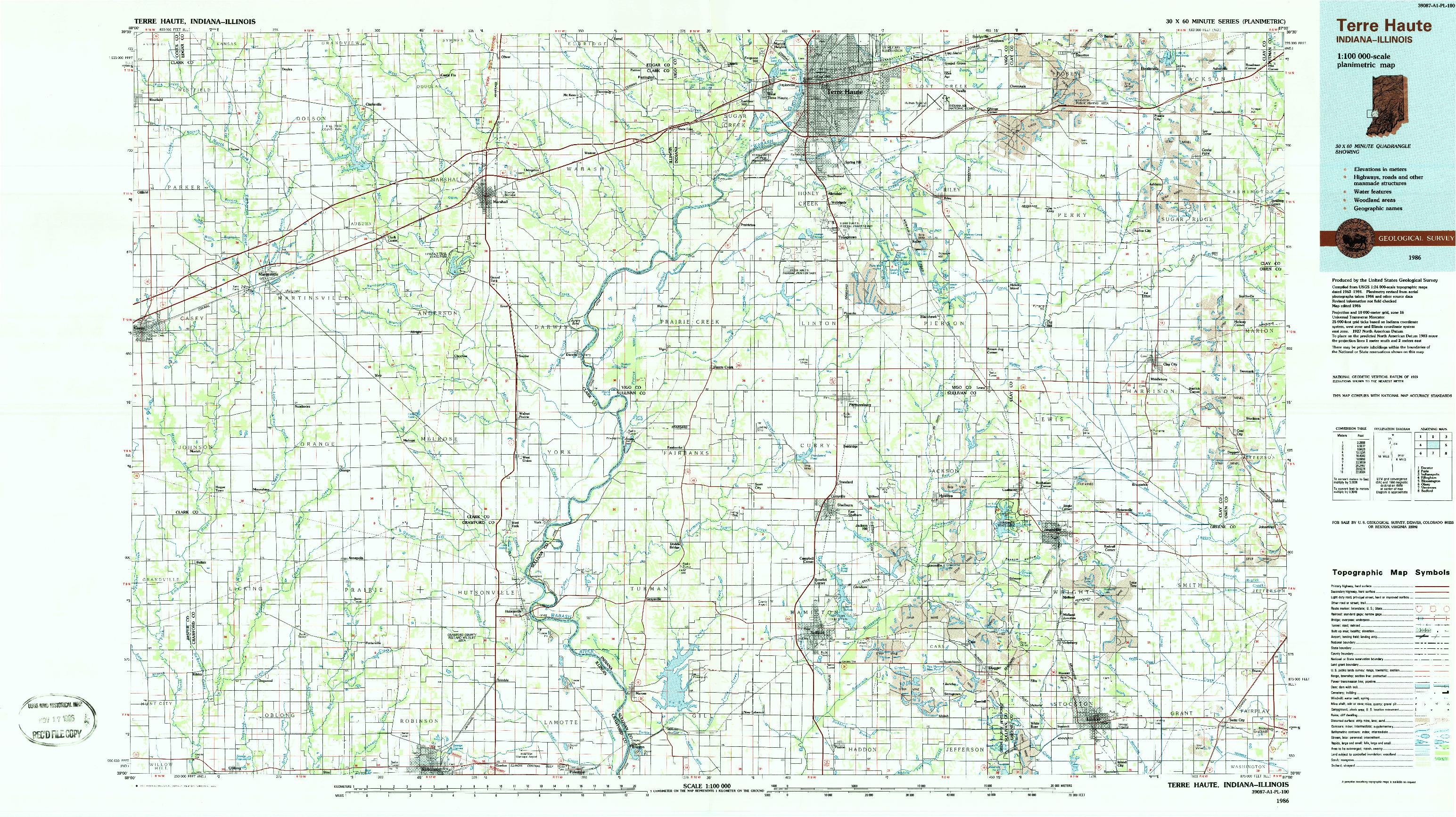 USGS 1:100000-SCALE QUADRANGLE FOR TERRE HAUTE, IN 1986
