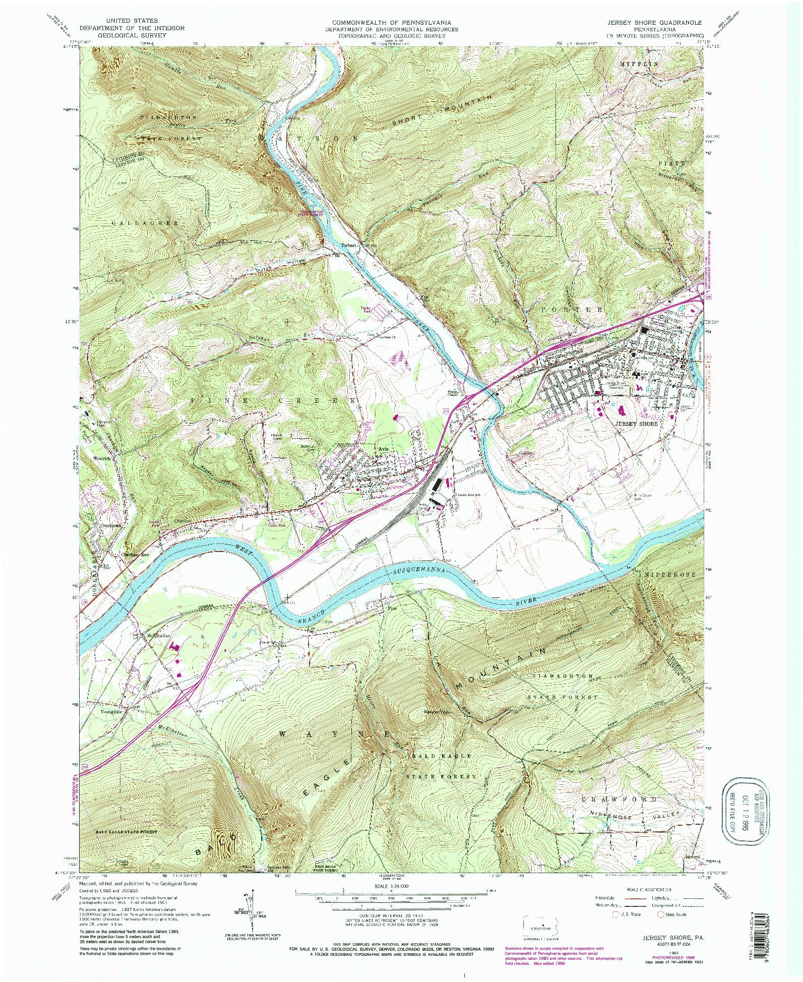 USGS 1:24000-SCALE QUADRANGLE FOR JERSEY SHORE, PA 1965