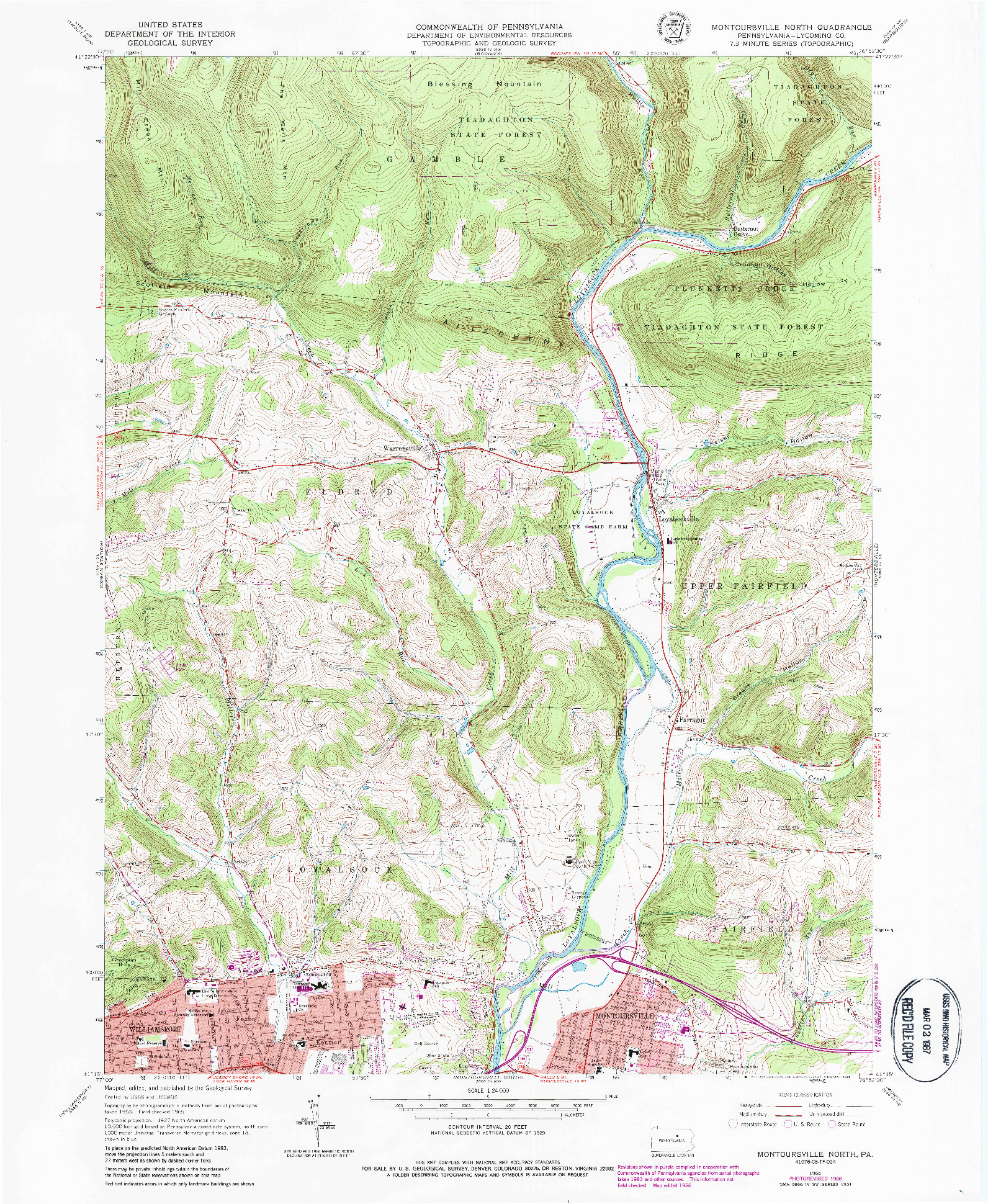 USGS 1:24000-SCALE QUADRANGLE FOR MONTOURSVILLE NORTH, PA 1965