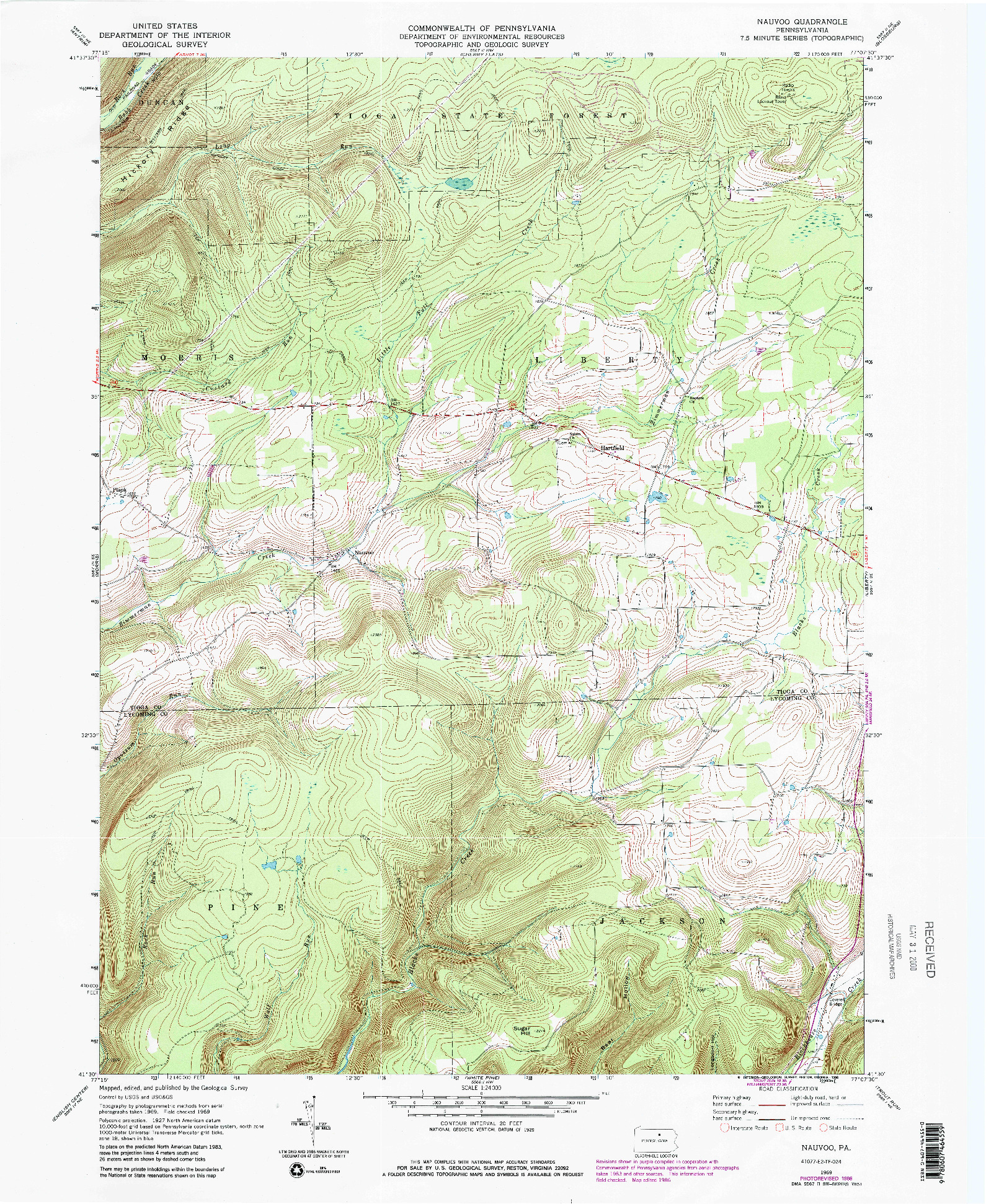USGS 1:24000-SCALE QUADRANGLE FOR NAUVOO, PA 1969