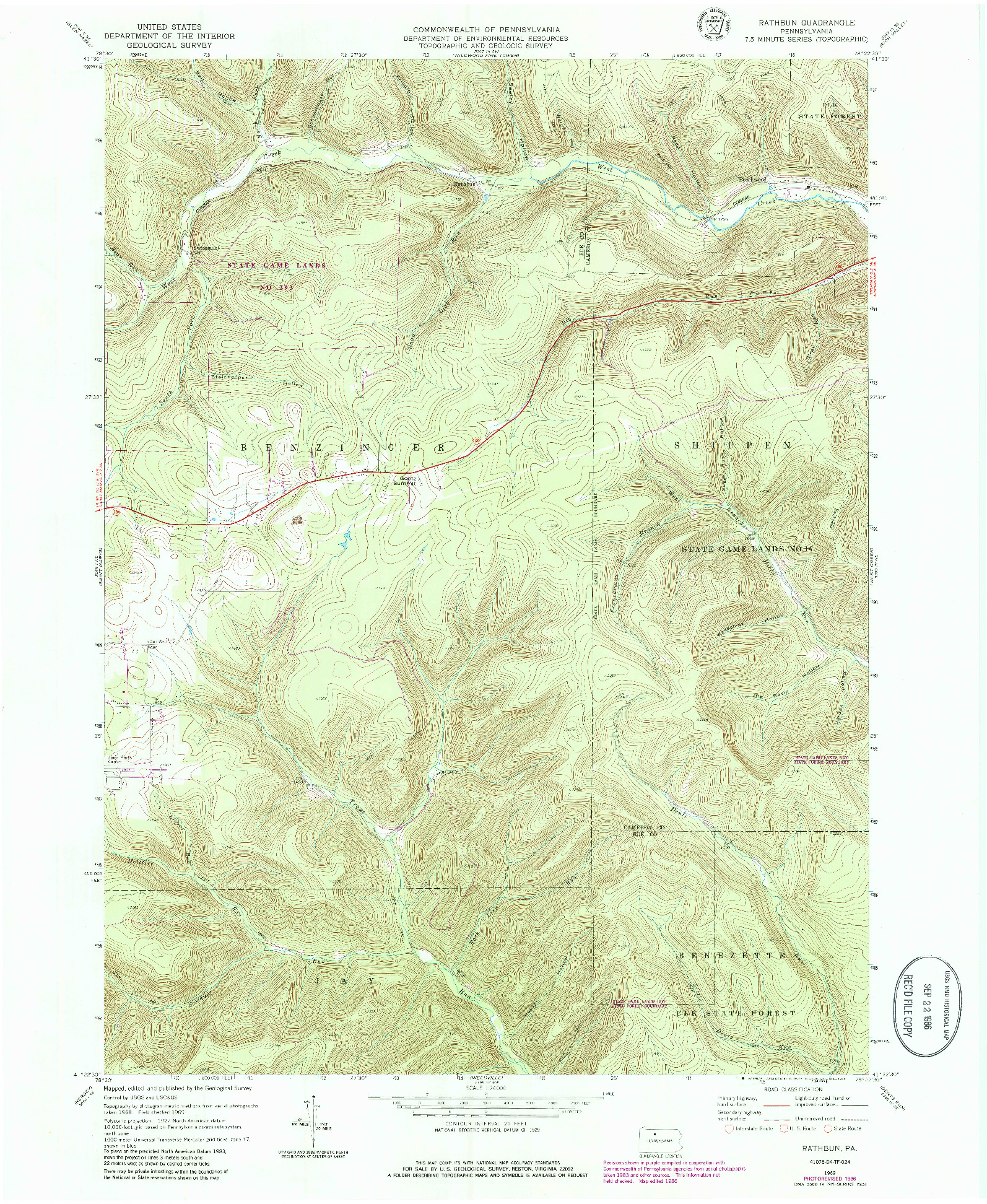 USGS 1:24000-SCALE QUADRANGLE FOR RATHBUN, PA 1969