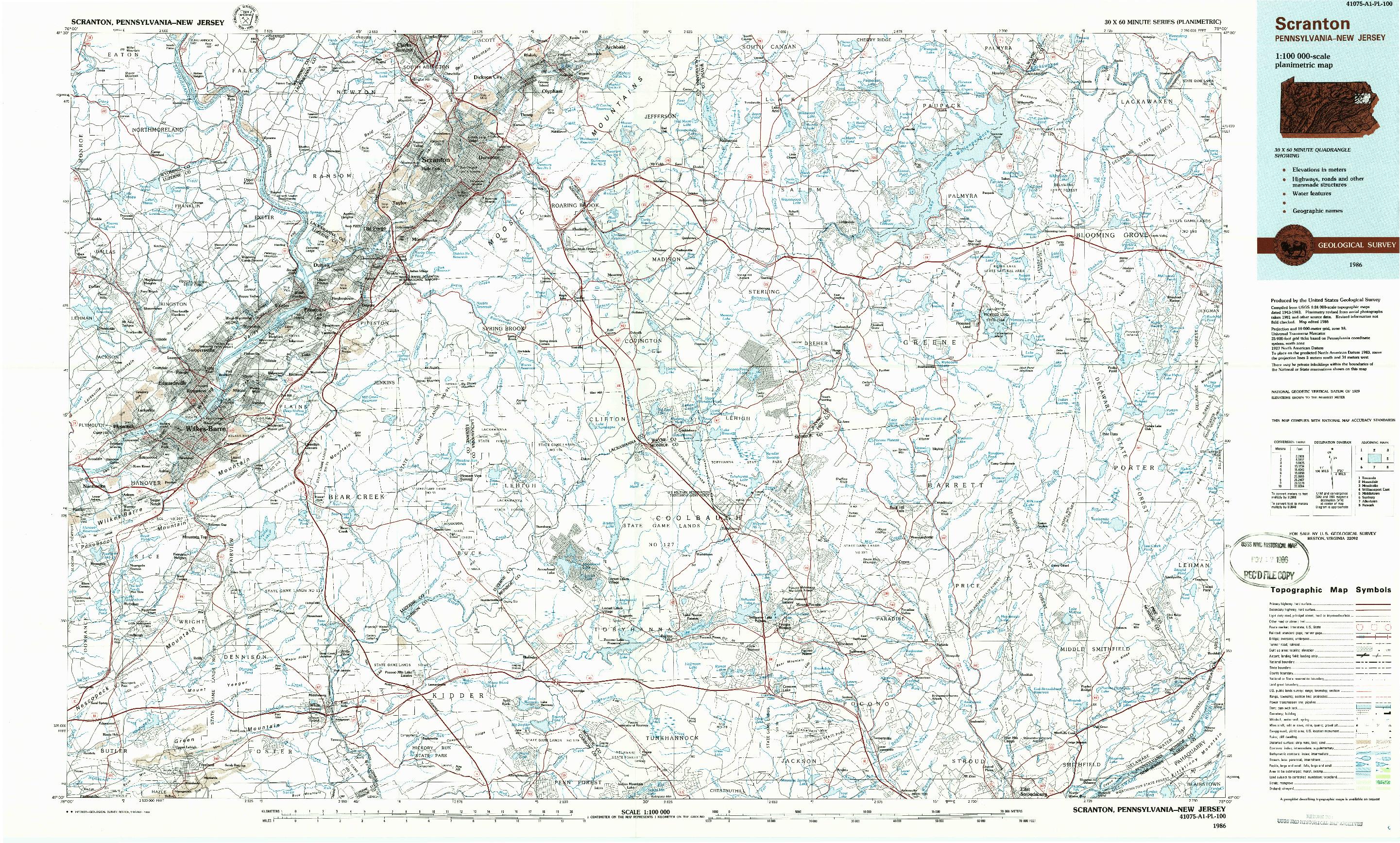 USGS 1:100000-SCALE QUADRANGLE FOR SCRANTON, PA 1986