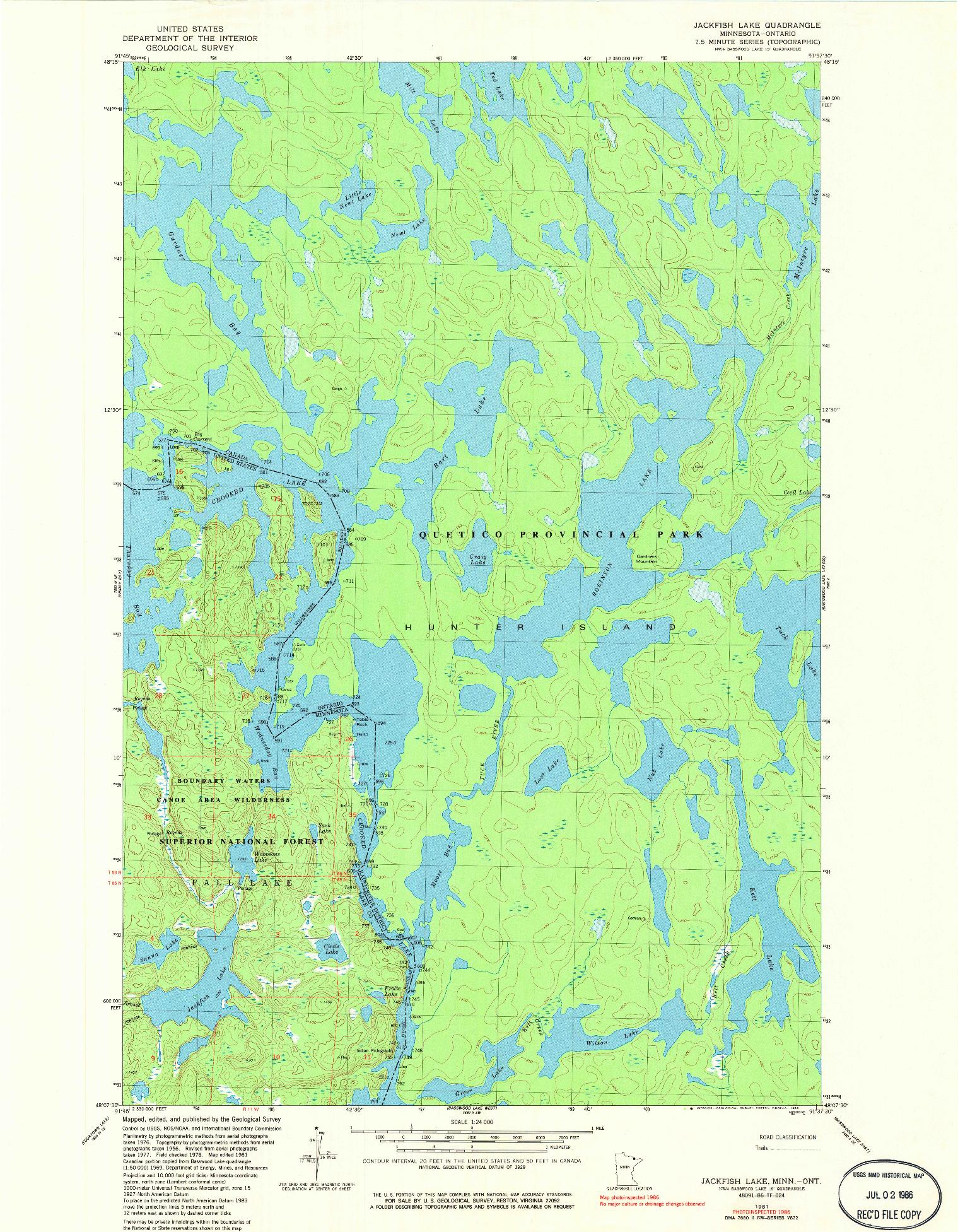 USGS 1:24000-SCALE QUADRANGLE FOR JACKFISH LAKE, MN 1981