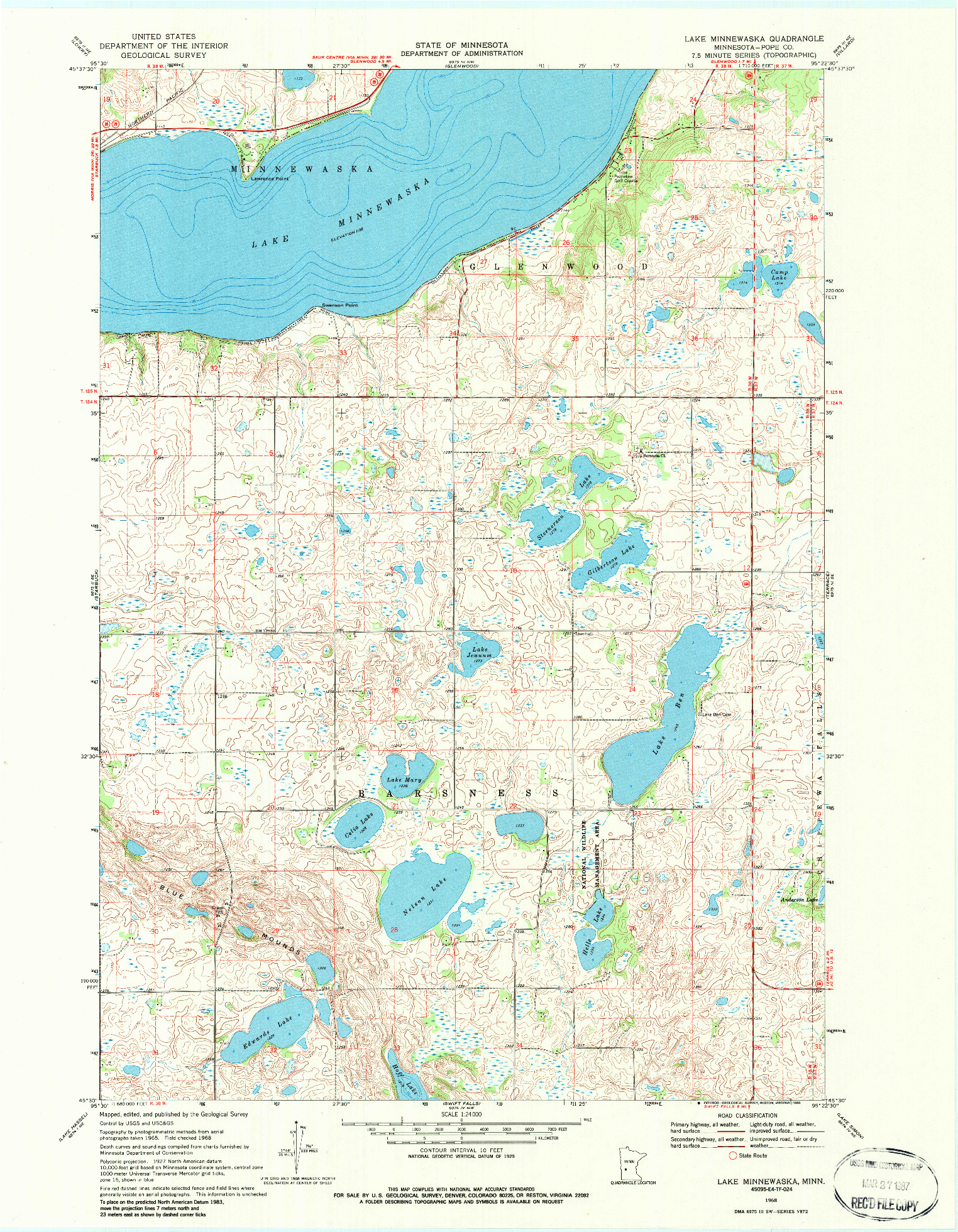 USGS 1:24000-SCALE QUADRANGLE FOR LAKE MINNEWASKA, MN 1968