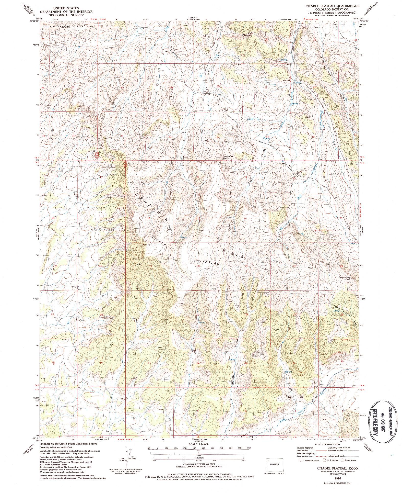 USGS 1:24000-SCALE QUADRANGLE FOR CITADEL PLATEAU, CO 1986