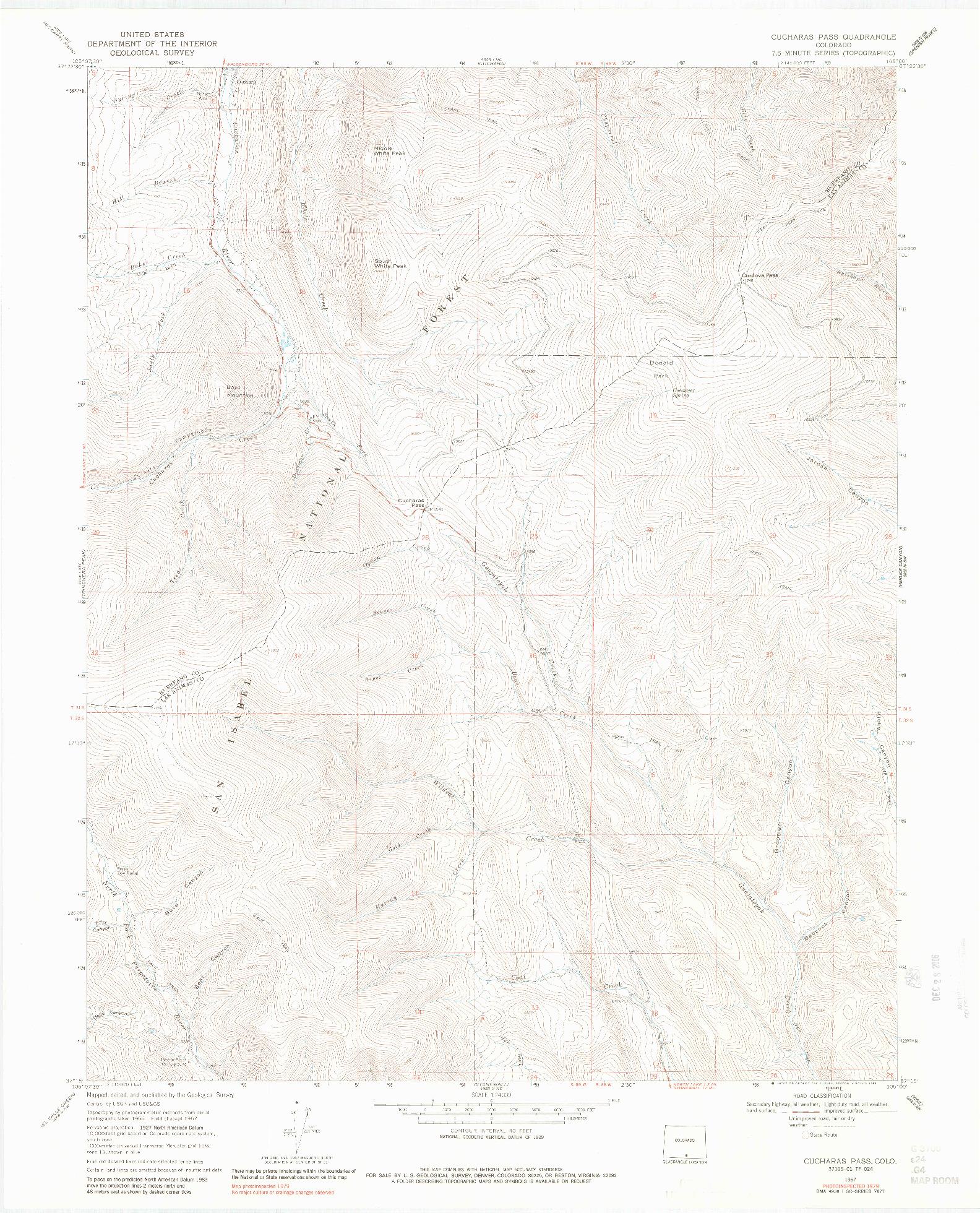 USGS 1:24000-SCALE QUADRANGLE FOR CUCHARAS PASS, CO 1967